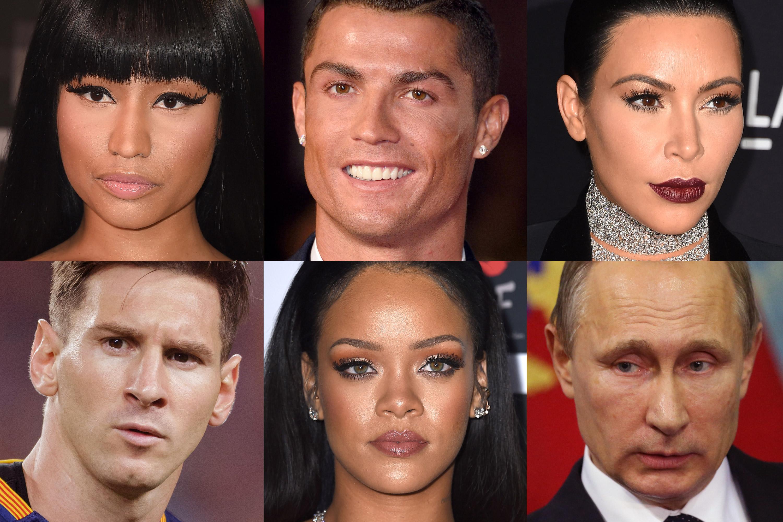 (Clockwise from top left) Nicki Minaj; Cristiano Ronaldo; Kim Kardashian; Lionel Messi; Rihanna; Vladimir Putin