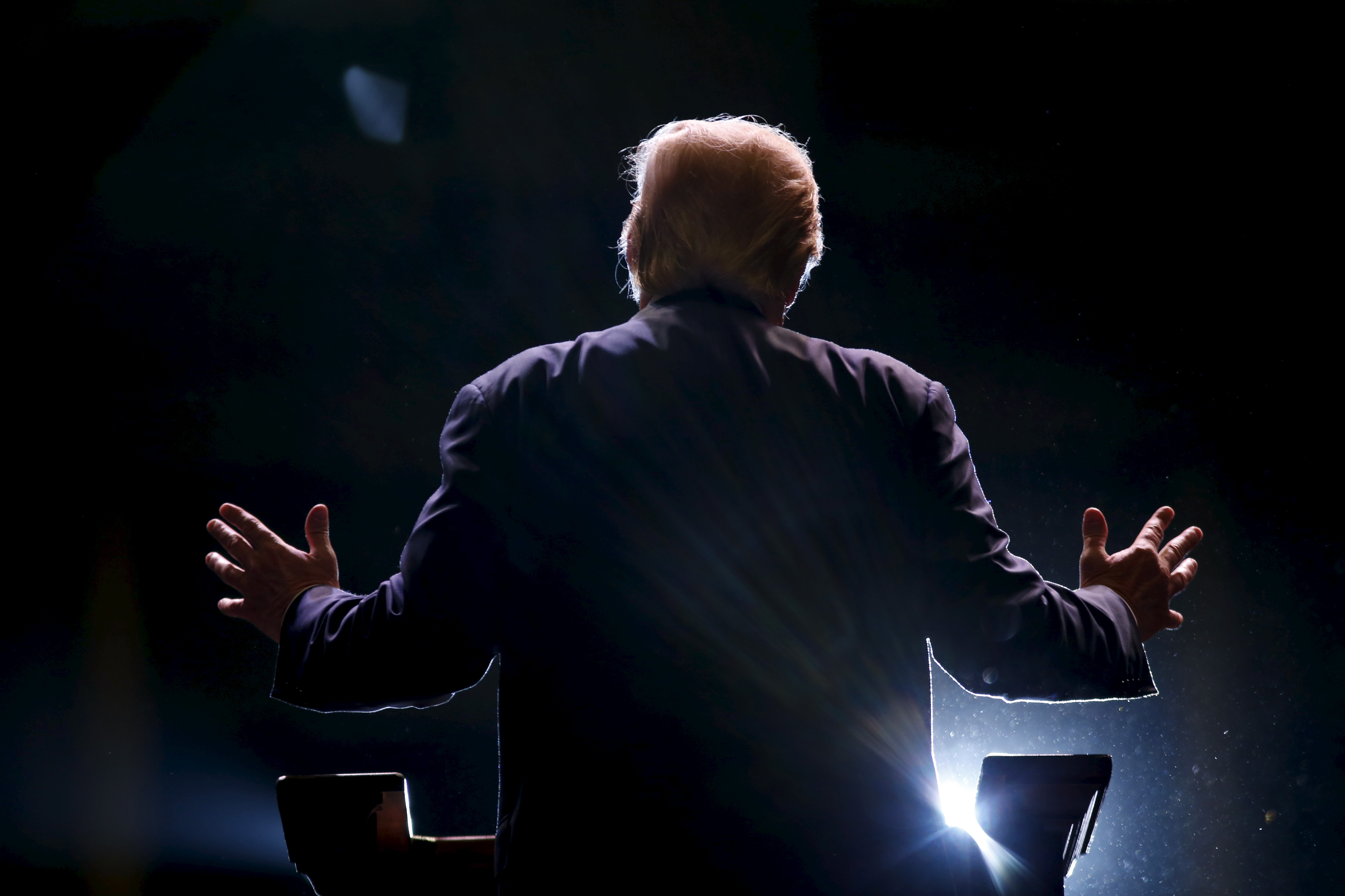 Donald Trump addresses a Trump for President campaign rally in Macon, Georgia Nov. 30, 2015.
