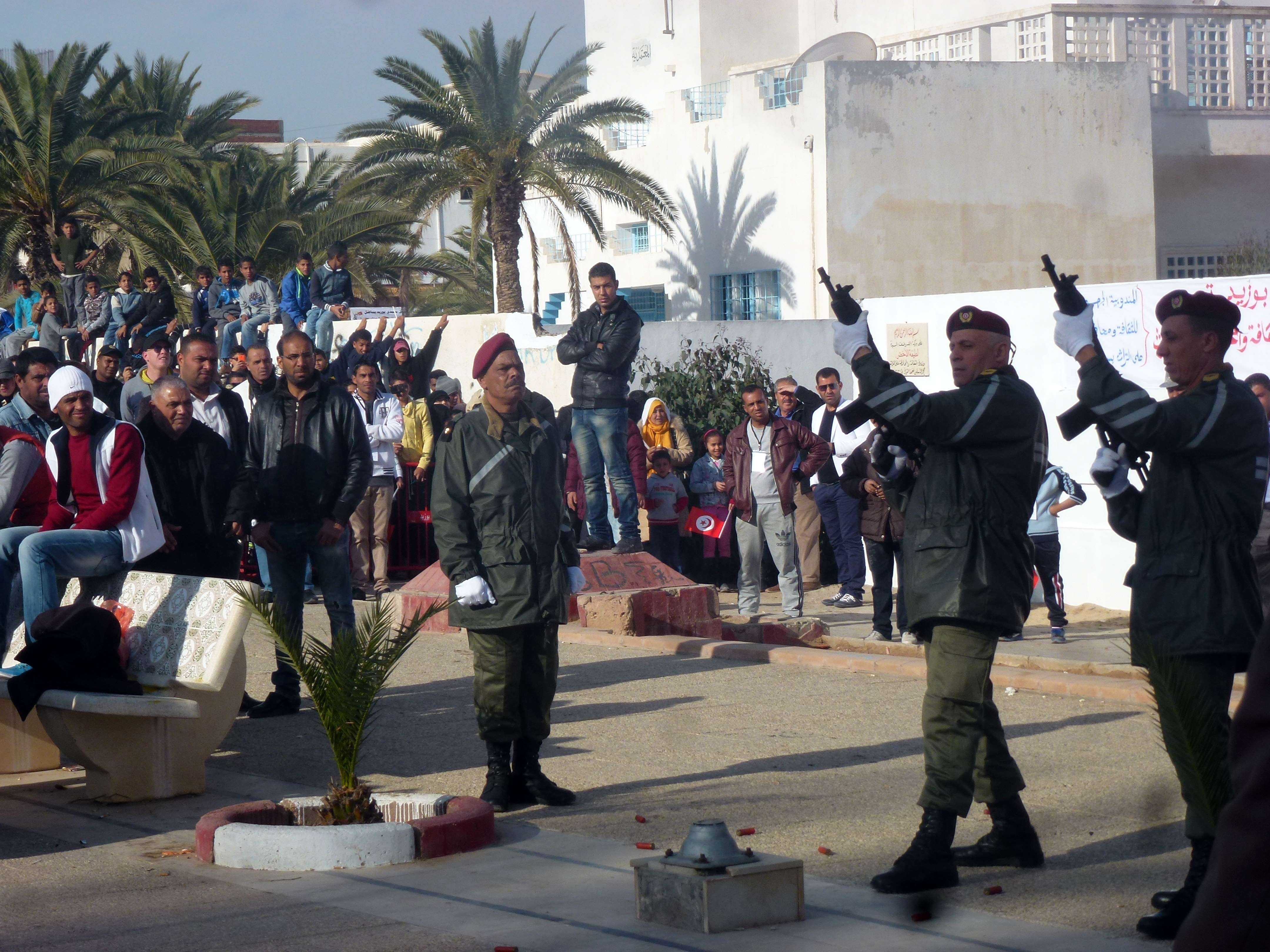 Tunisians take part in a ceremony marking the fifth anniversary of the self-immolation of Mohamed Bouazizi, a young street vendor, which sparked the revolution that ousted a dictator and ignited the Arab Spring on Dec. 17, 2015  in the central town of Sidi Bouzid.