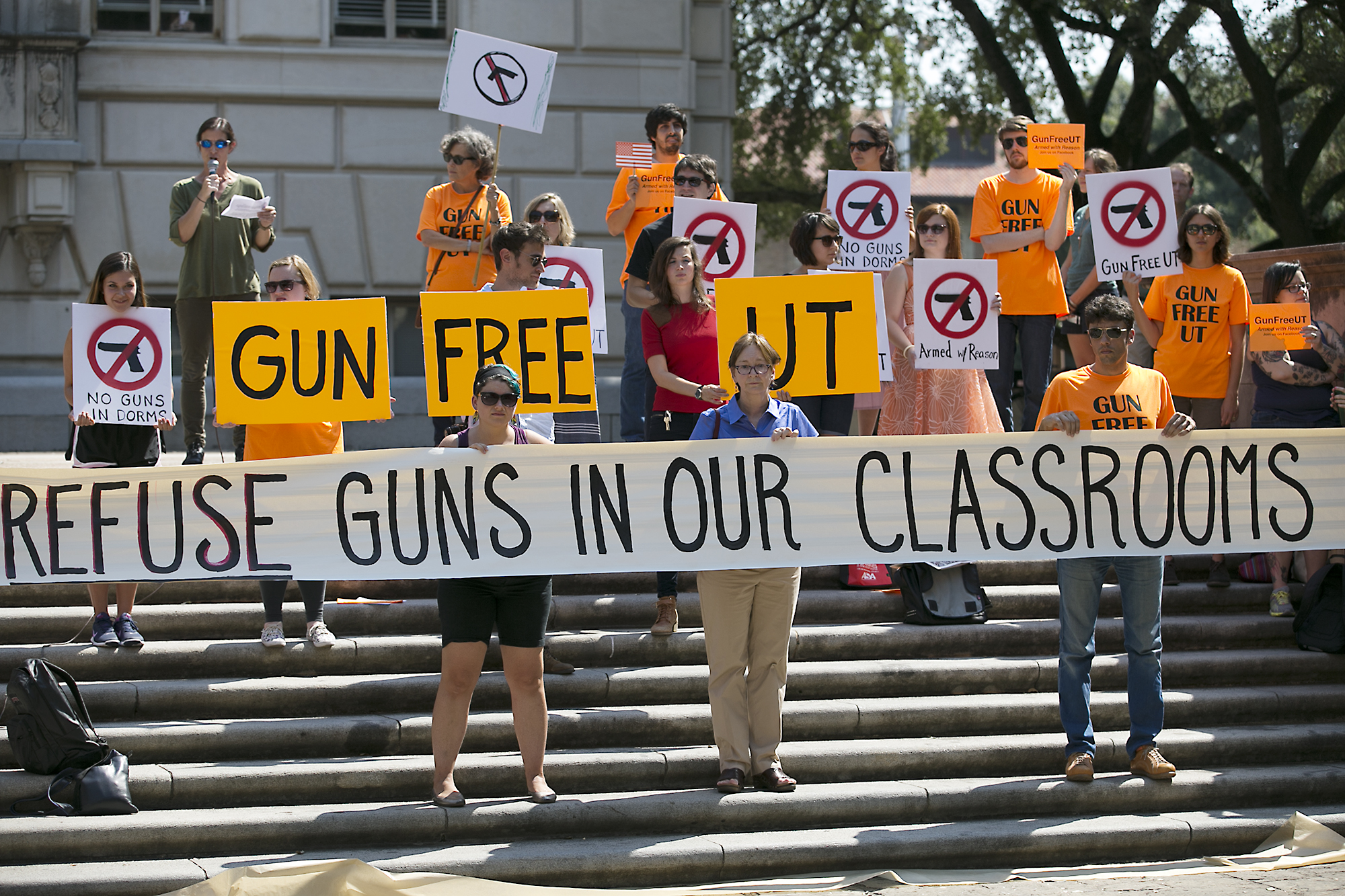Protestors gathered on the West Mall of the University of Texas campus to oppose a new open carry law, Oct. 1, 2015. Gun rights activist plan on holding a mock mass shooting on the University of Texas campus.