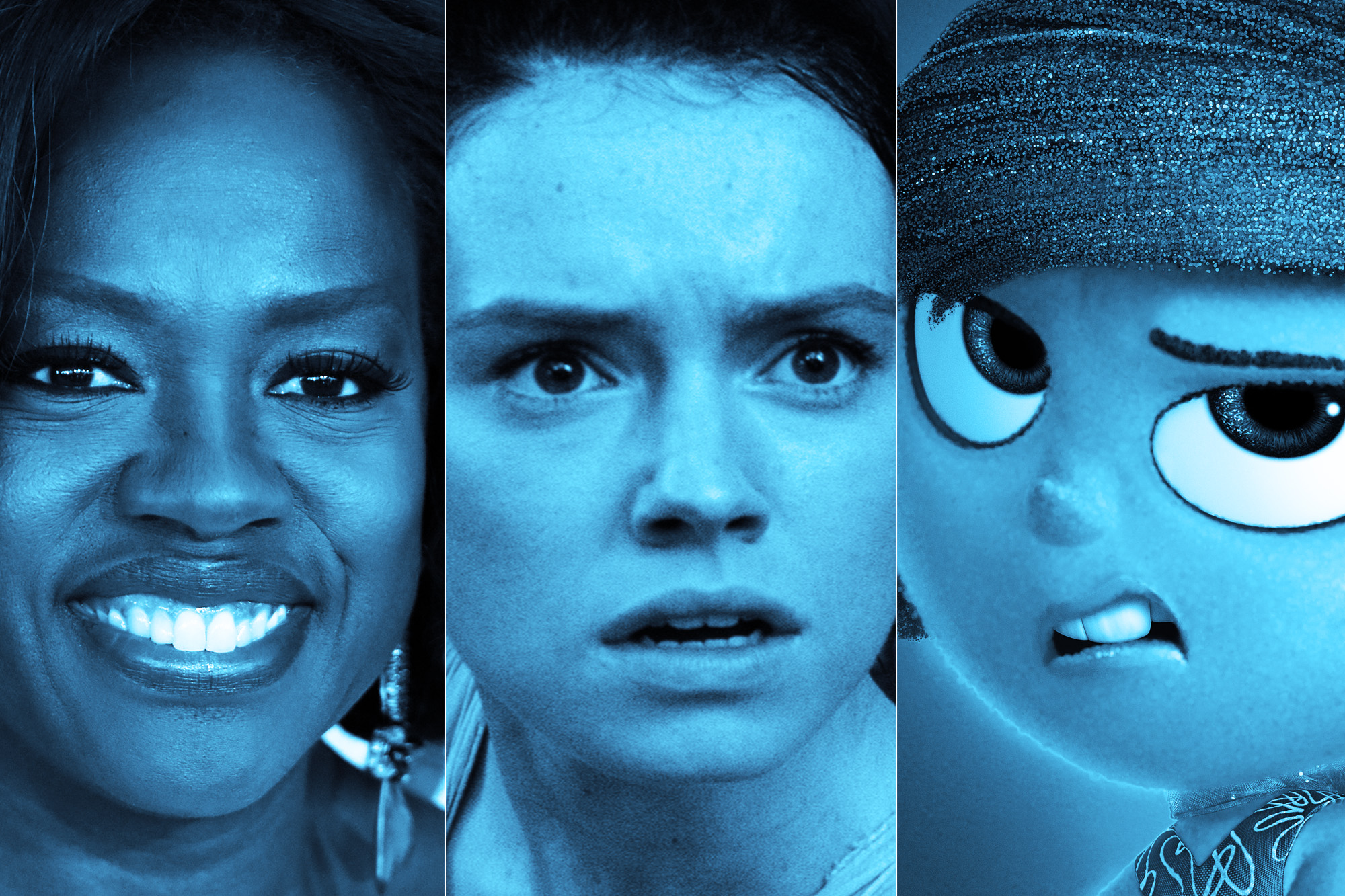 Viola Davis, Daisy Ridley as Rey in Star Wars: The Force Awakens, Disgust in Inside Out.