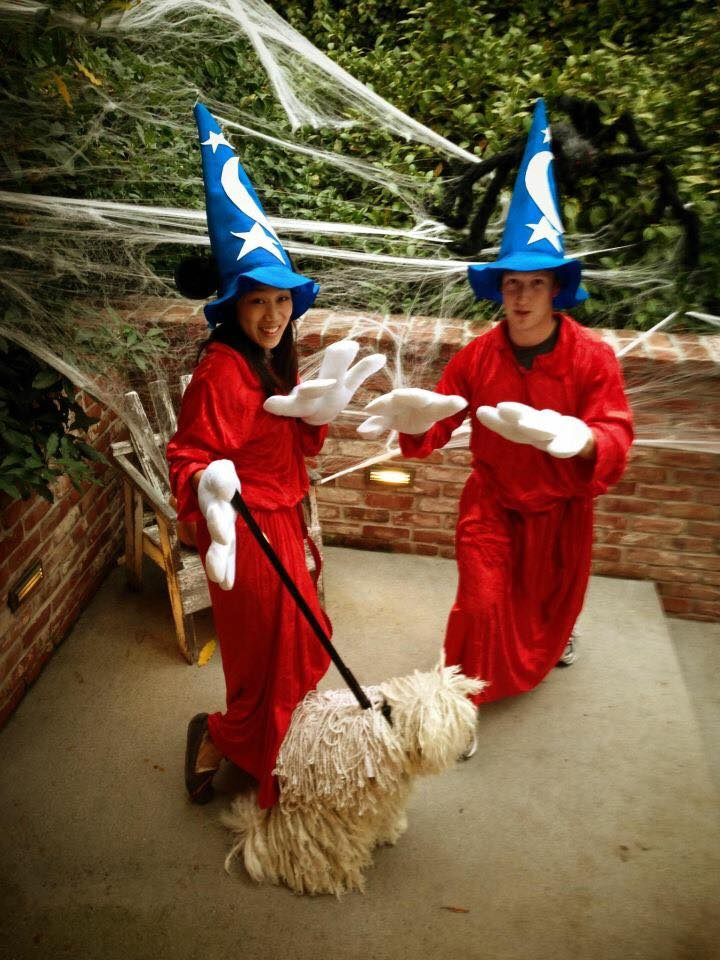 October 31, 2015                                    The Sorcerer's Apprentice and our mop. My favorite family costume from Halloweens past. — with Priscilla Chan and Beast.