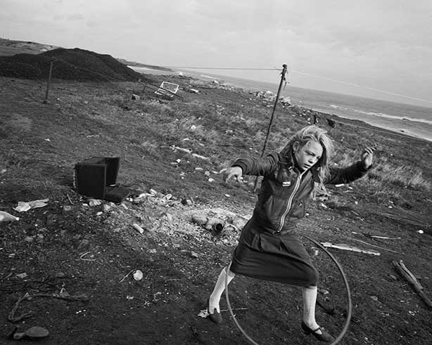 10-Helen-and-her hoola-hoop-Seacoal Camp-Lynemouth, Northumbria-1984-Chris-Killip-Martin-Parr