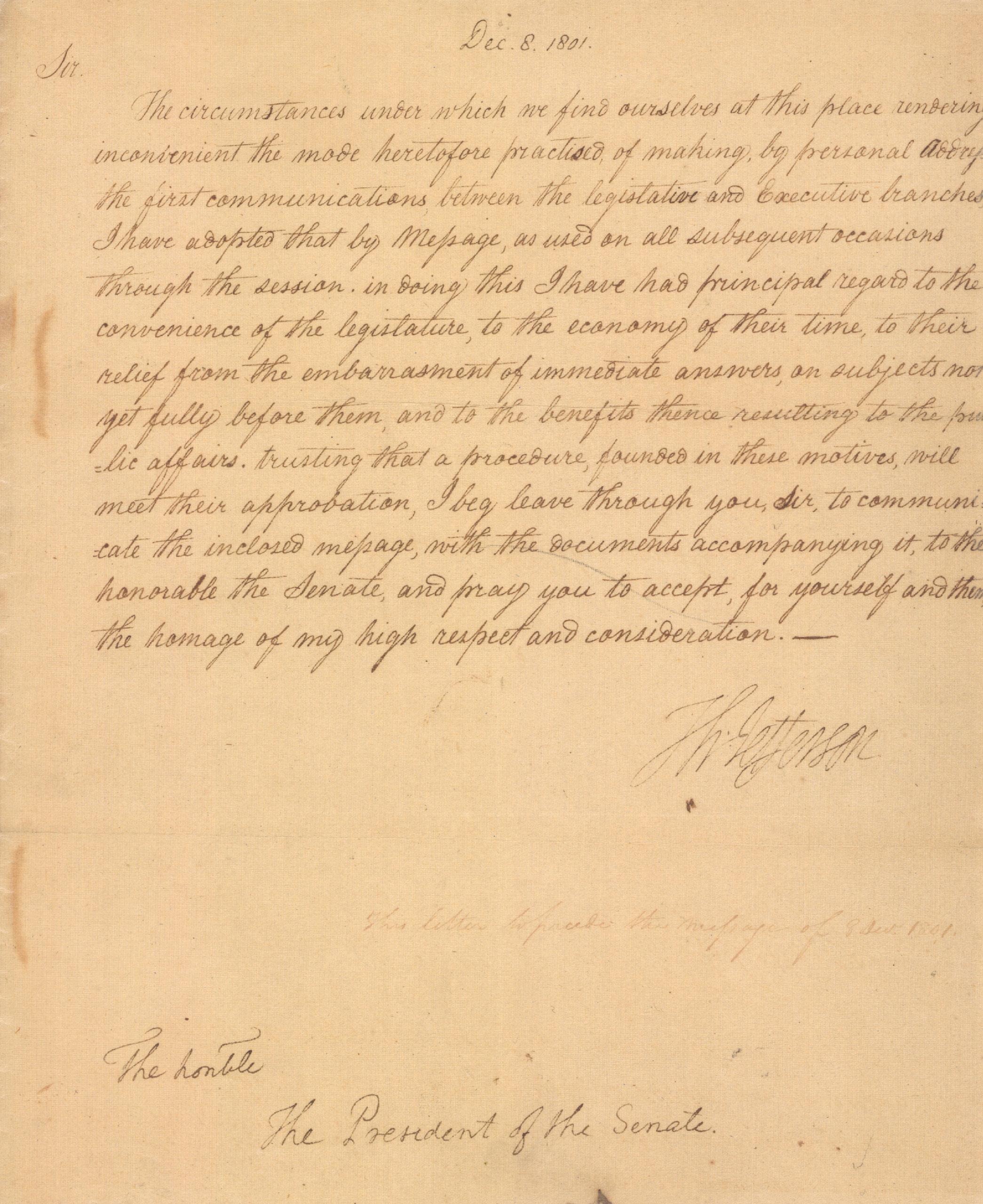 President Thomas Jefferson's letter to the President of the Senate regarding the Annual message, December 8, 1801