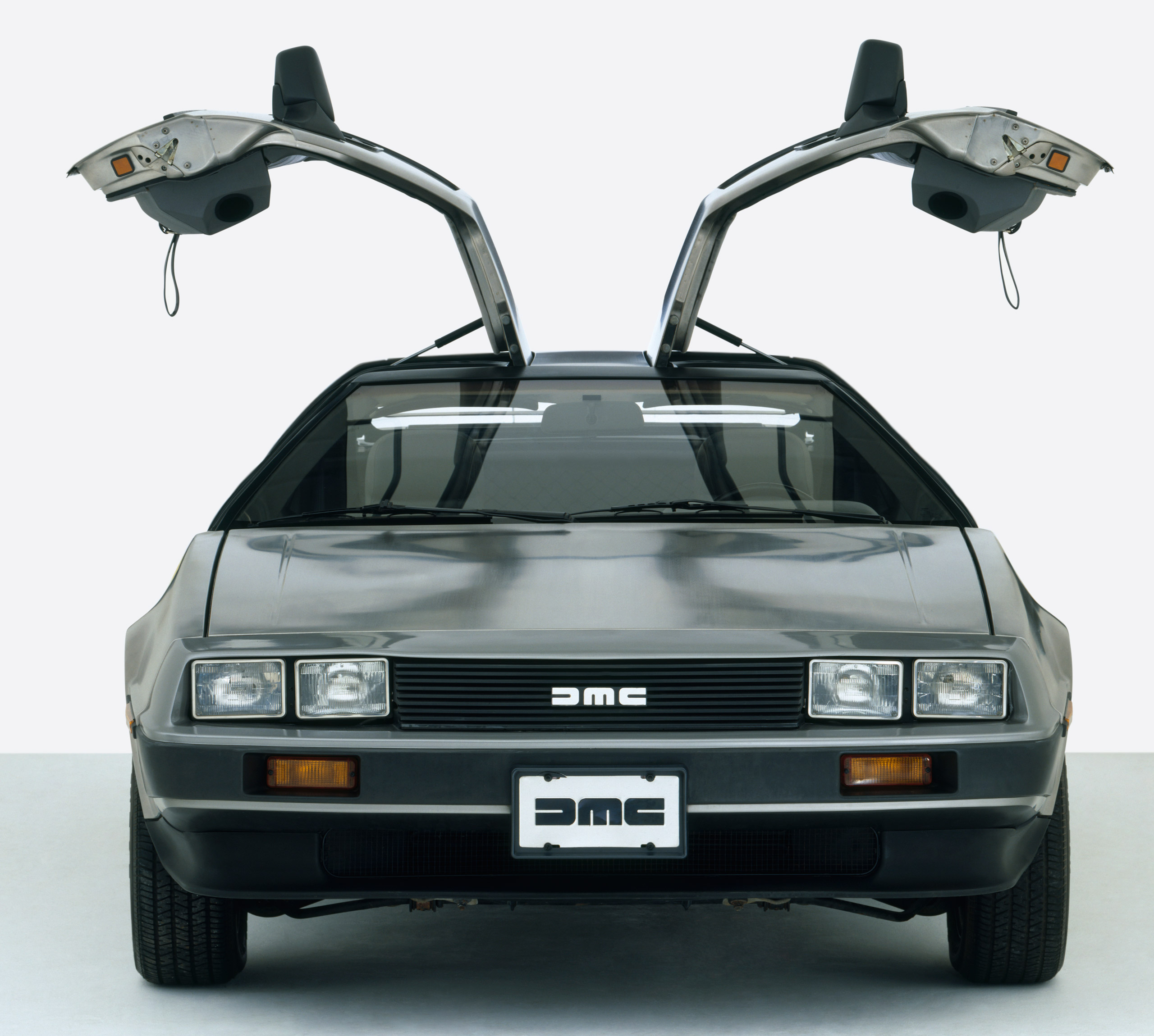 DeLorean DMC 12 with gullwing doors, 1979-82, front view.