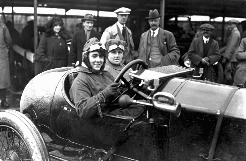 Motor meeting at Brooklands, Weybridge, Surrey. Competitor Ivy Cummings and her mother in their racing car. April 1920.