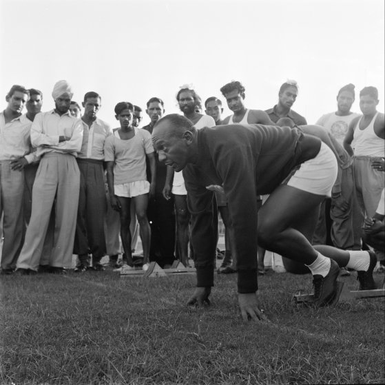 Track star Jesse Owens in India, 1955