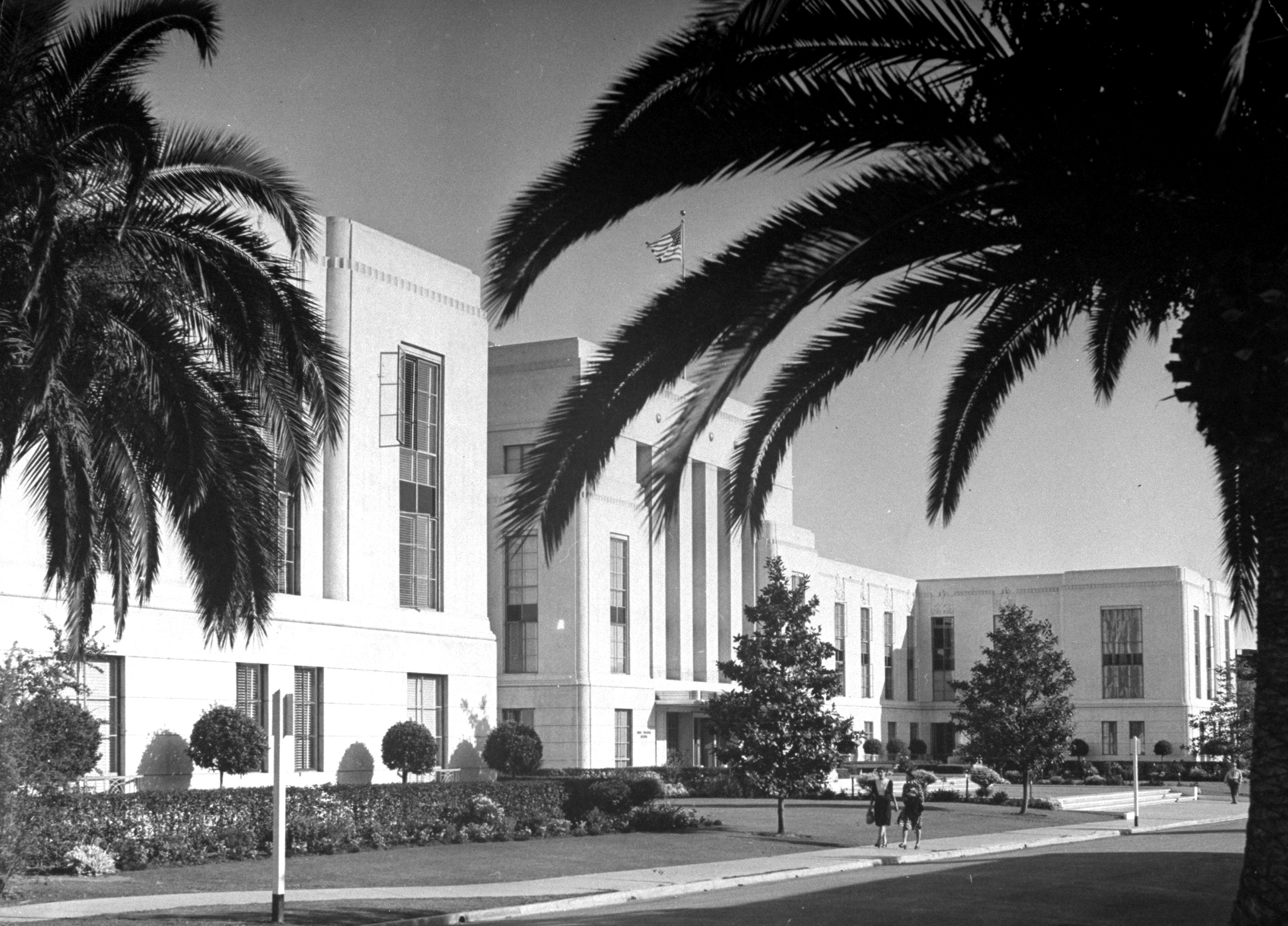 The sleek new building that hosts the offices of producers and directors of MGM, 1943.
