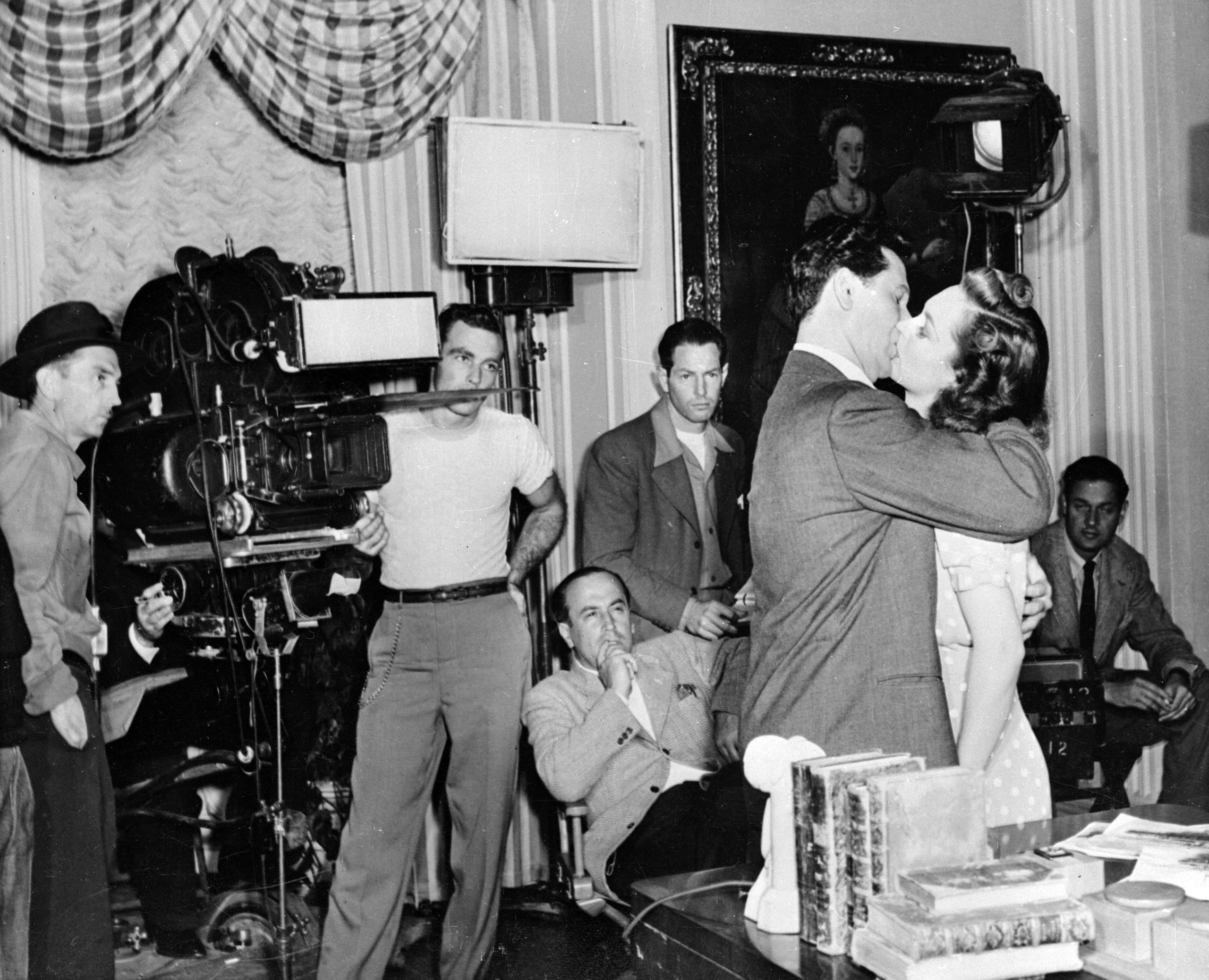 A film crew shoot a kissing scene at the Warner Brothers Film Studios in Hollywood, 1946.