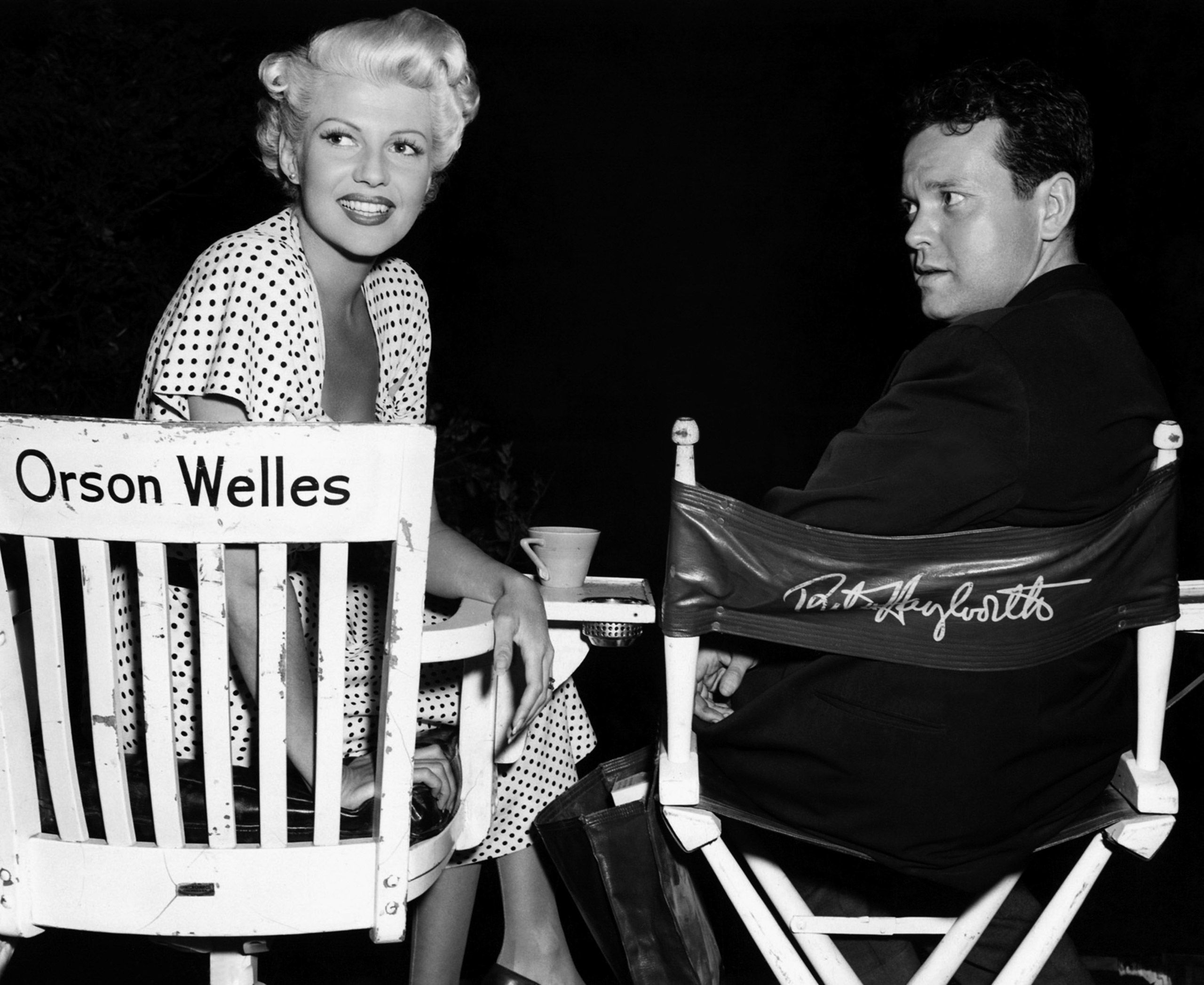 Actor, producer, writer and director Orson Welles poses with actress and wife Rita Hayworth on the set of the Columbia Pictures film 'The Lady from Shanghai' in 1947 in Los Angeles.