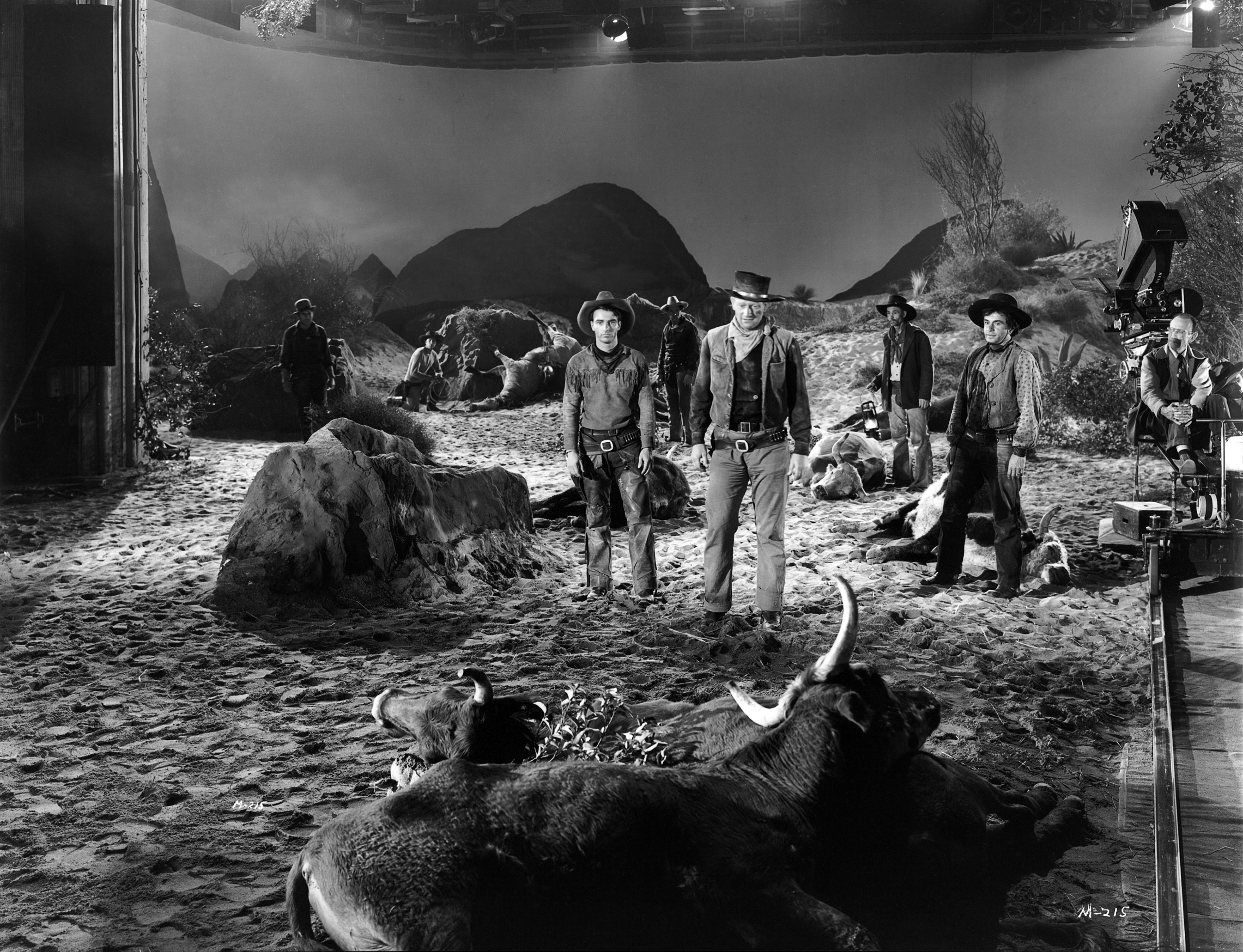 Montgomery Clift and John Wayne on the studio set of the western 'Red River', 1948.