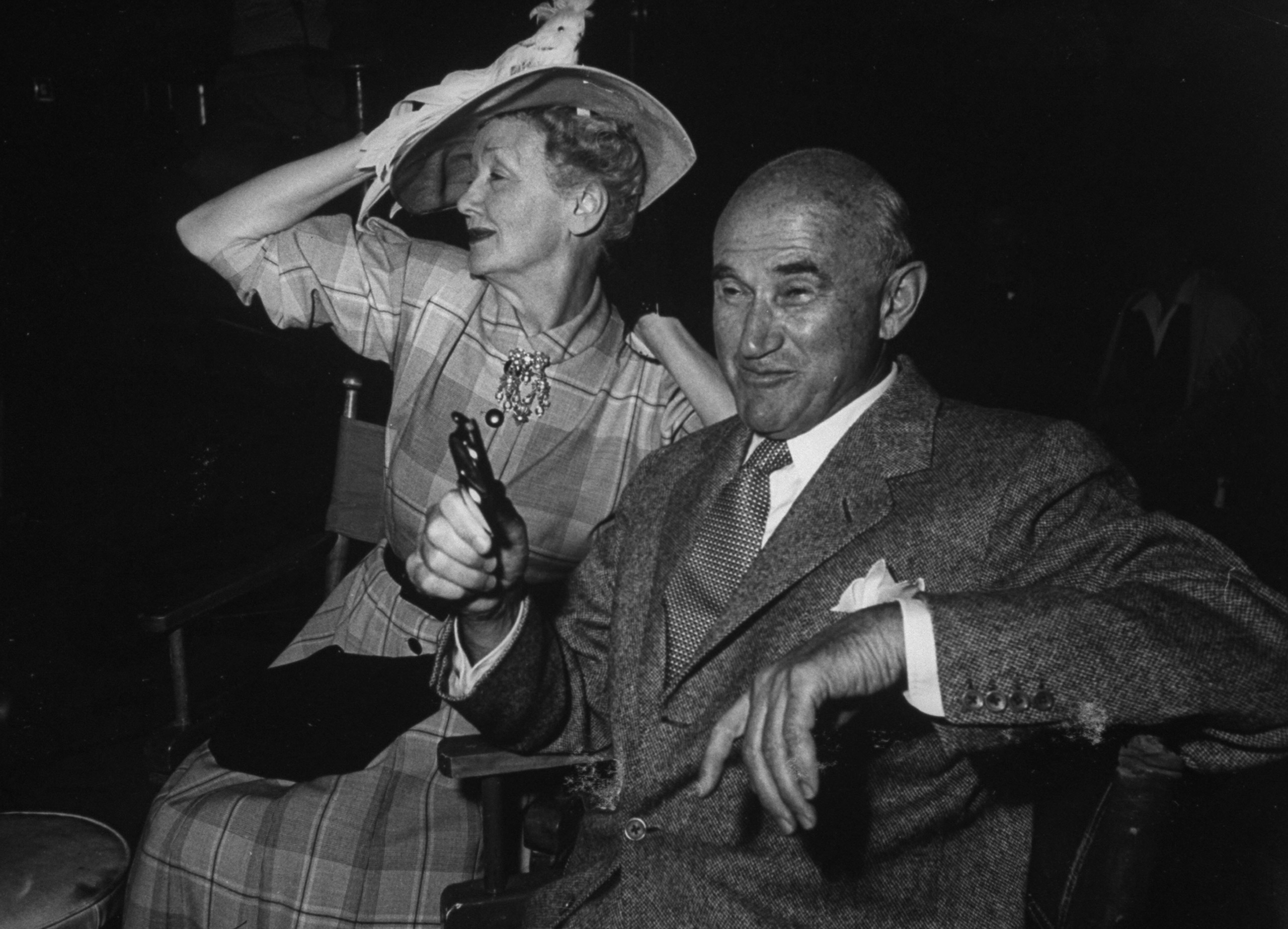 Hedda Hopper and Sam Goldwyn on the set during production of MGM's  Porgy and Bess.  1958.
