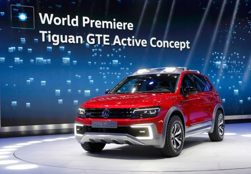 The Volkswagen Tiguan GTE Active Concept car is displayed at the North American International Auto Show in Detroit
