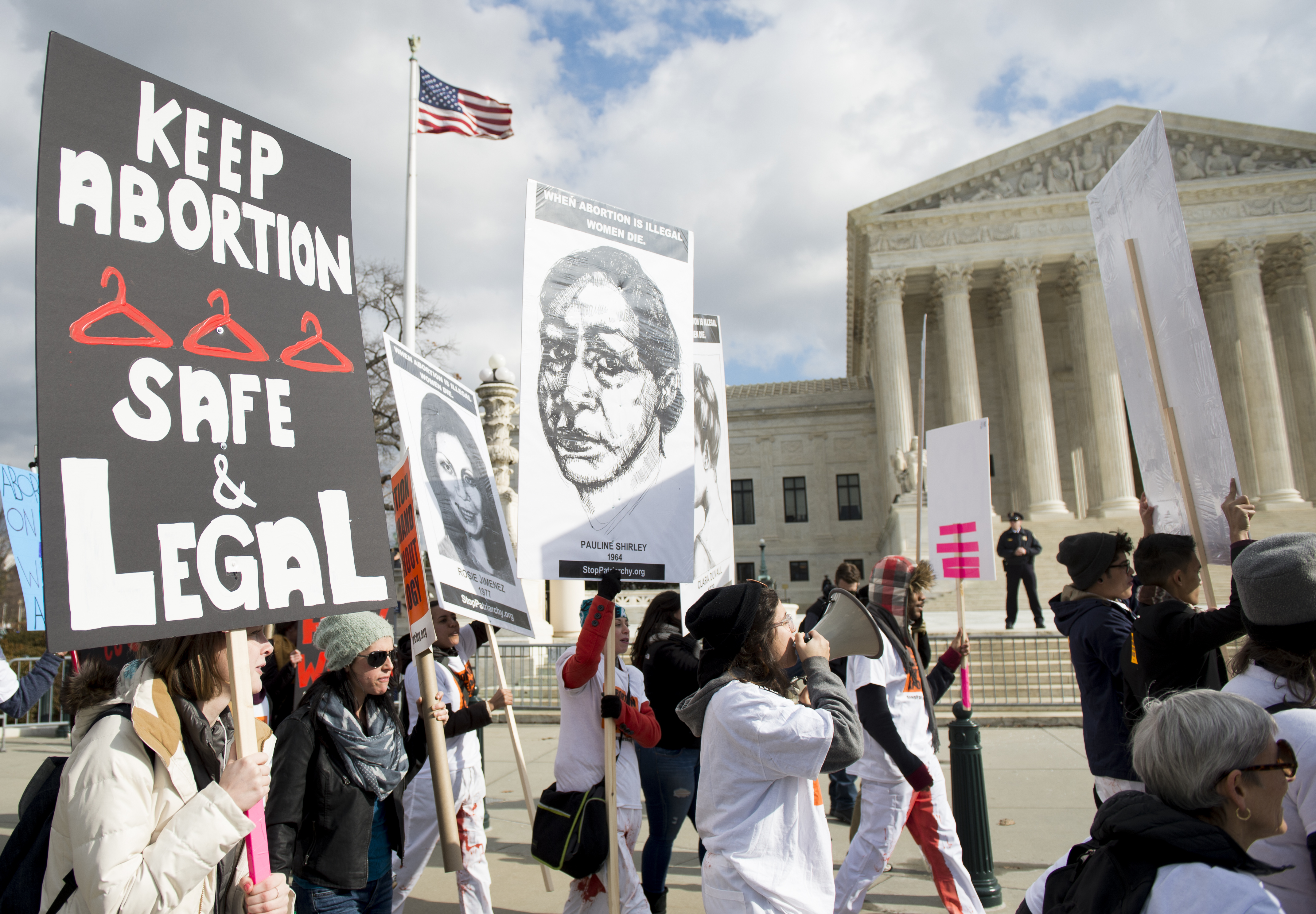 Pro-choice protesters chant in front of the Supreme Court on Thursday, Jan. 22, 2015, the anniversary of the Roe v Wade abortion decision. (Bill Clark--CQ Roll Call)