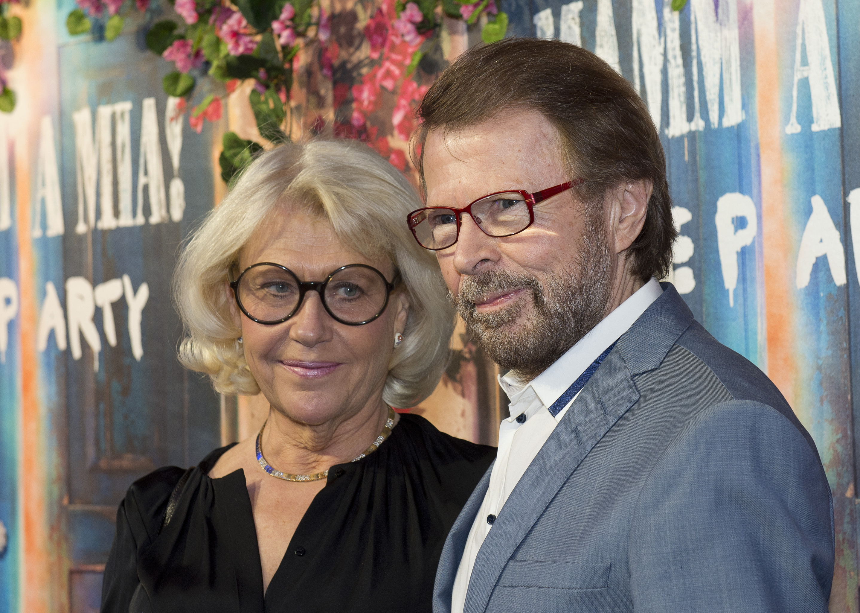 Bjorn Ulvaeus (R), a member of Swedish disco group ABBA attends the opening of  Mamma Mia! The party  on Jan. 20, 2016 in Stockholm.