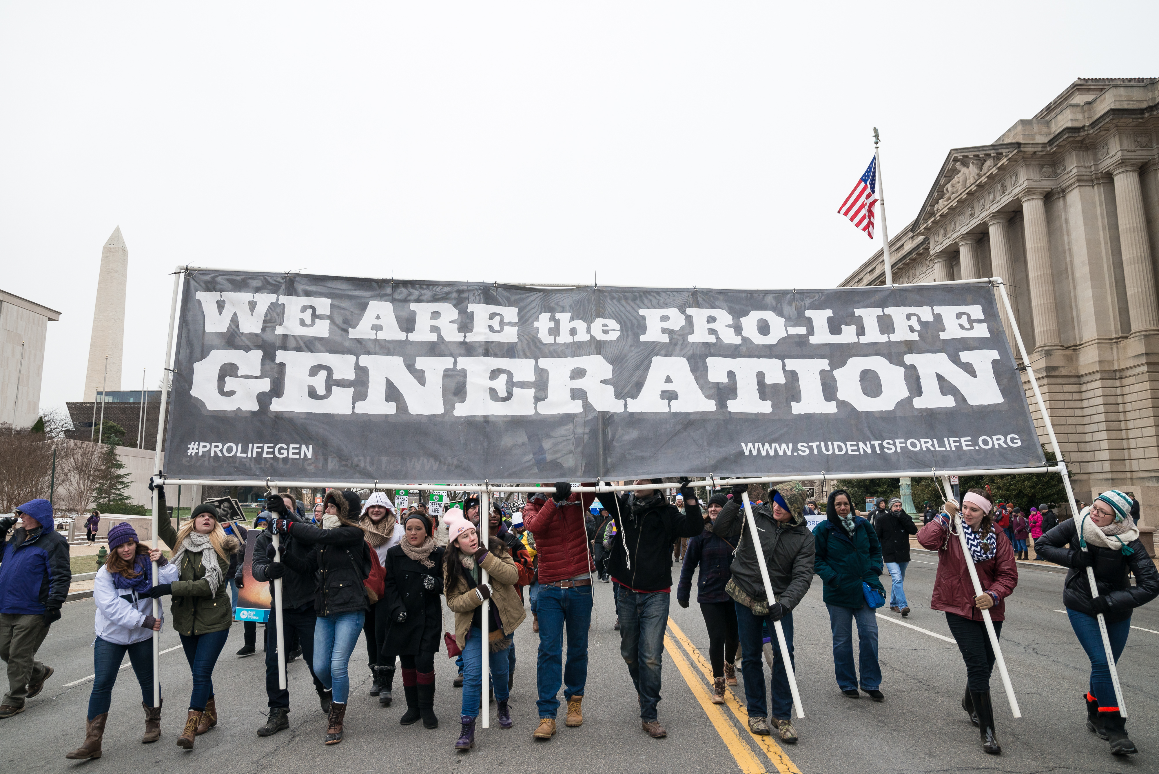 Pro-Life marchers participate in the  March for Life.  Tens of thousands of Pro-Life supporters rallied in Washington, D.C. on the anniversary of the landmark 1973 Supreme Court decision Roe v. Wade, demanding an end to legal abortion in the United States.