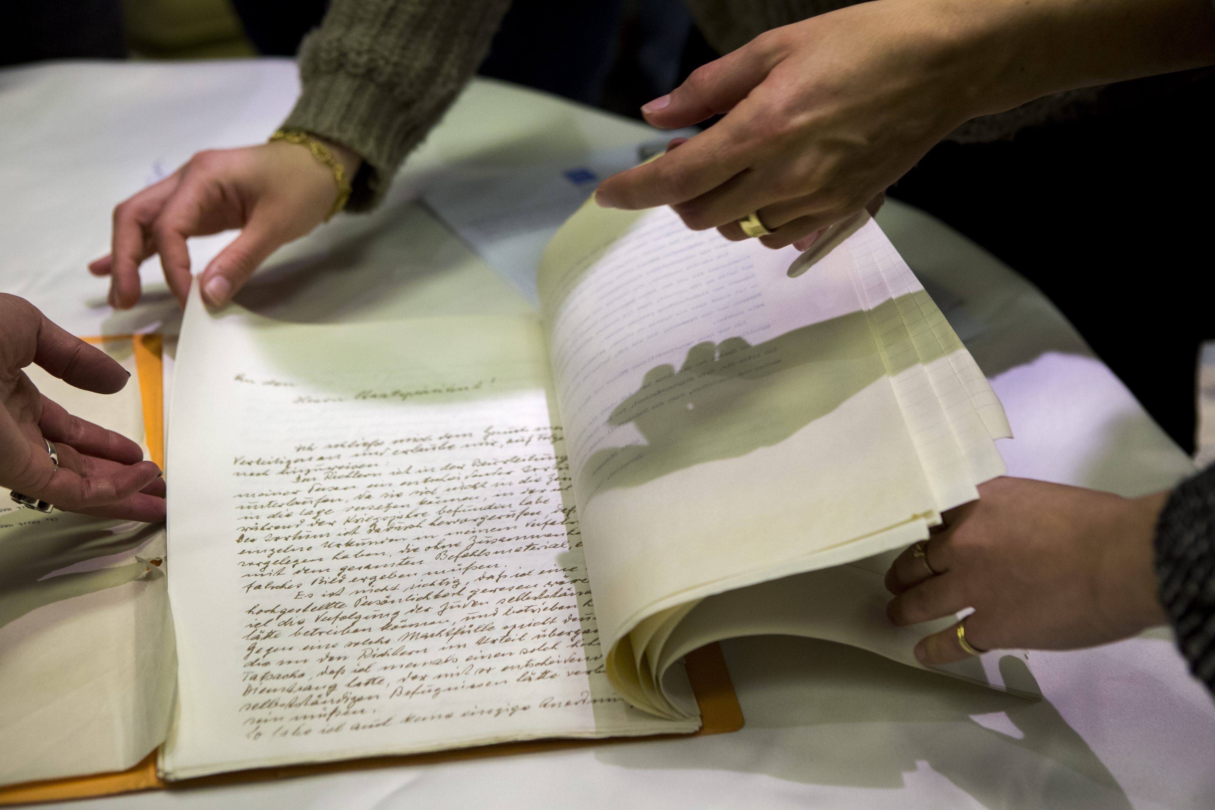 A newly found pardon request by Nazi Adolf Eichmann is displayed in the Israeli president's residence in Jerusalem, on Jan. 27, 2016.