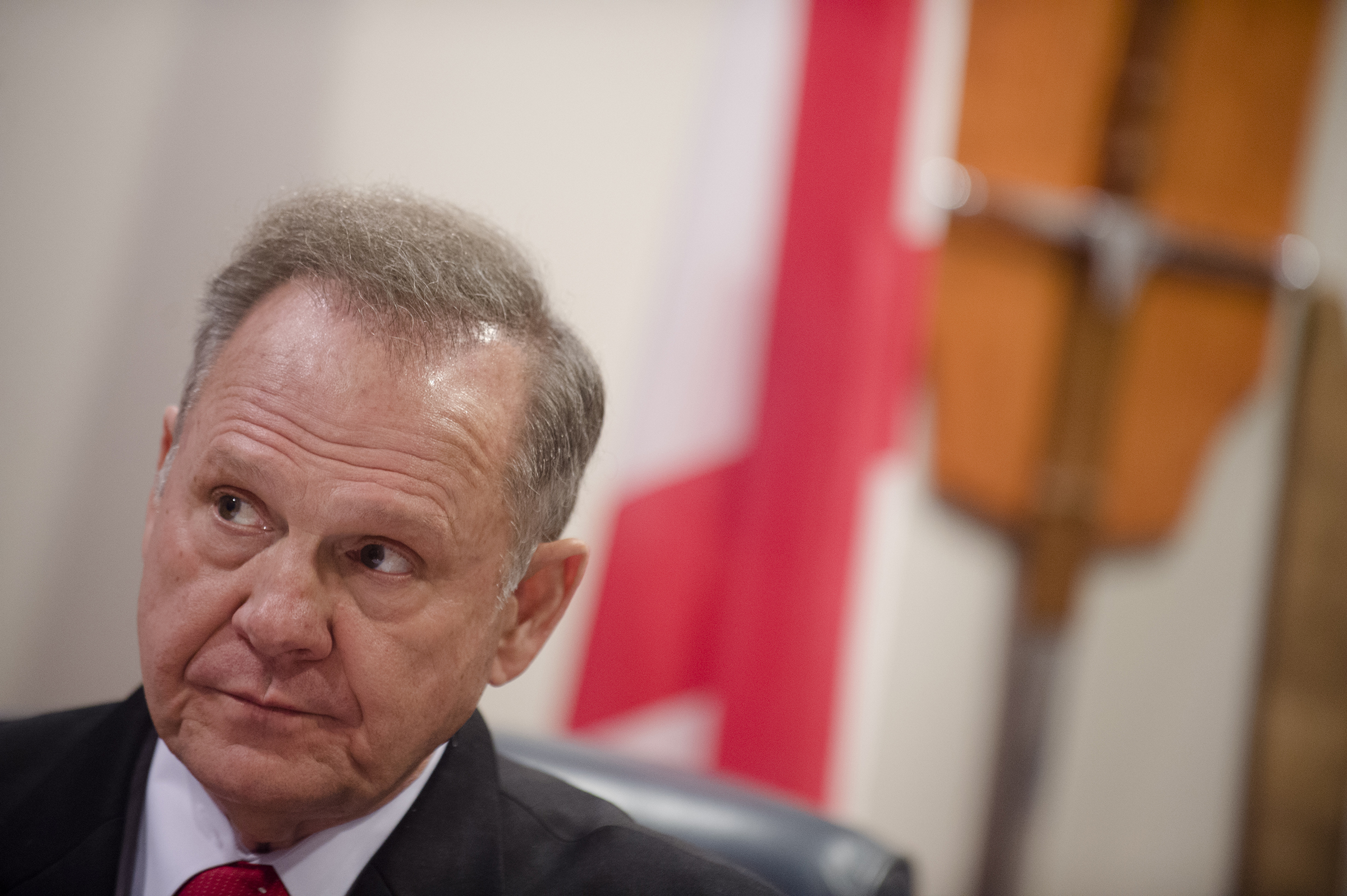Alabama Chief Justice Roy Moore talks about his administrative order discouraging probate judges from issuing same sex marriage licenses, at the Alabama Supreme Court building in Montgomery, Ala. on Jan. 6, 2016.