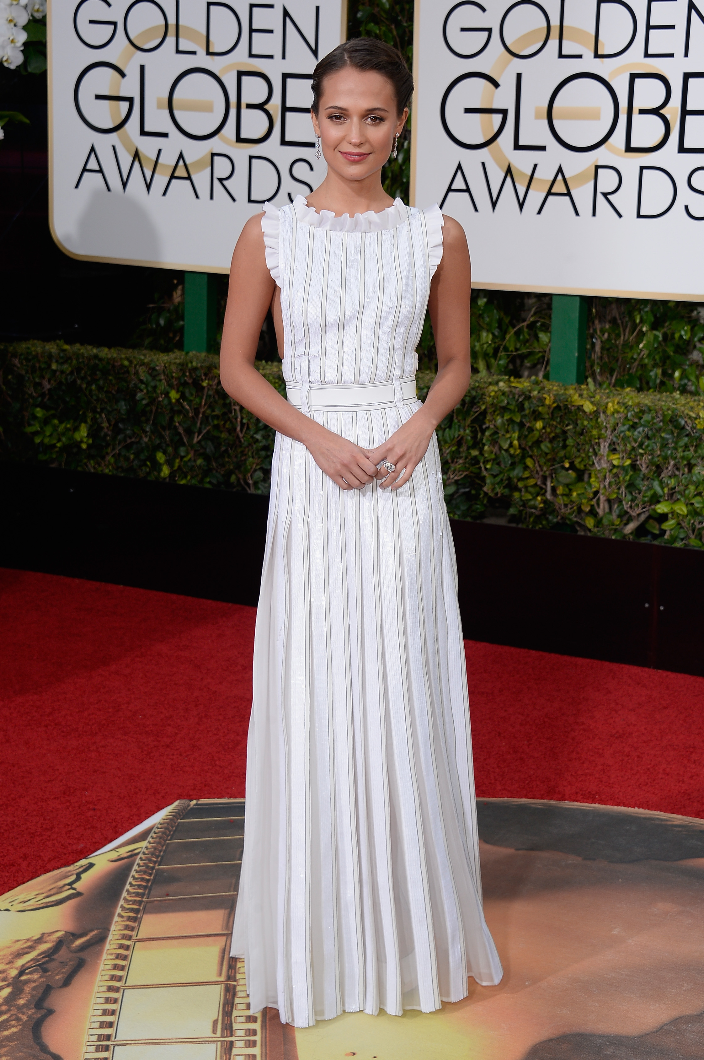 Alicia Vikander arrives to the 73rd Annual Golden Globe Awards on Jan. 10, 2016 in Beverly Hills.
