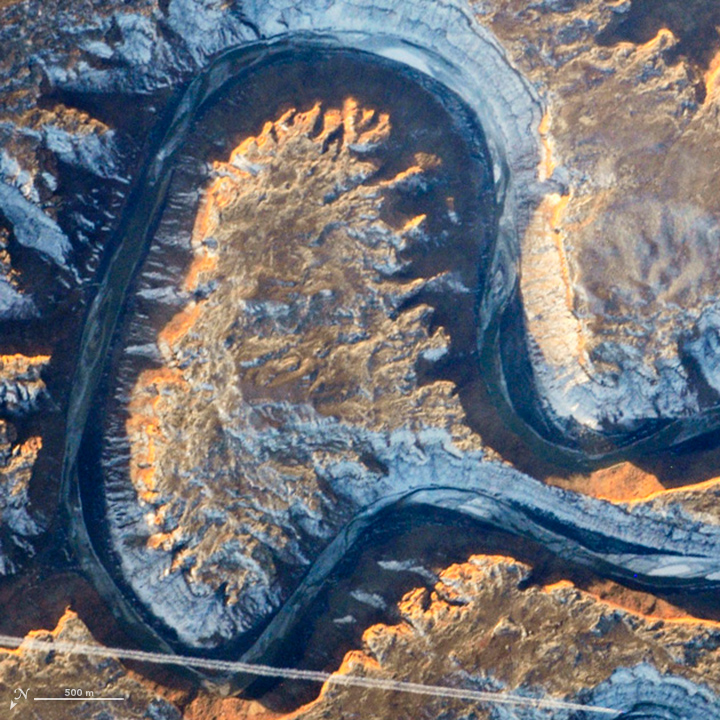 A: Utah's Green River doubling back on itself—a feature known as Bowknot Bend—photographed by an astronaut from the International Space Station on Jan. 22, 2014.