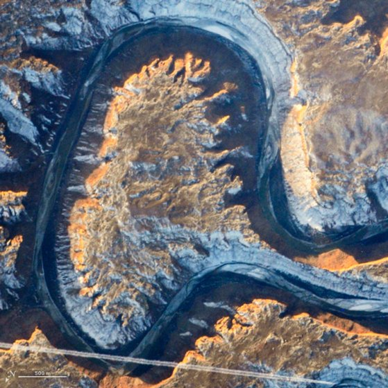 Utah's Green River doubling back on itself—a feature known as Bowknot Bend—from the International Space Station on January 22, 2014.