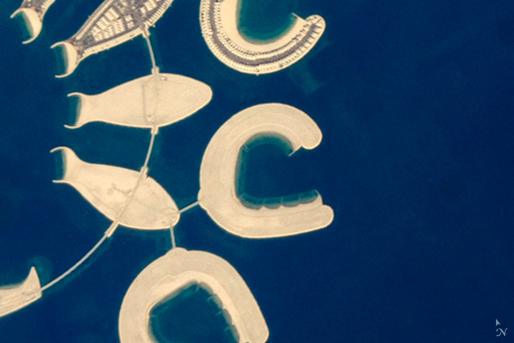 C: An artificial island at the southern end of Bahrain Island photographed by an astronaut on the International Space Station on Jan. 23, 2011.