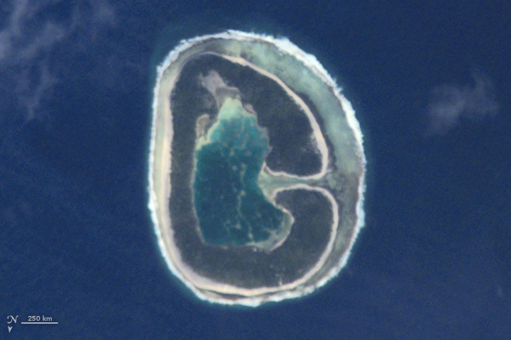 G: This image of Pinaki Island was captured by astronauts on the International Space Station in April 2001.