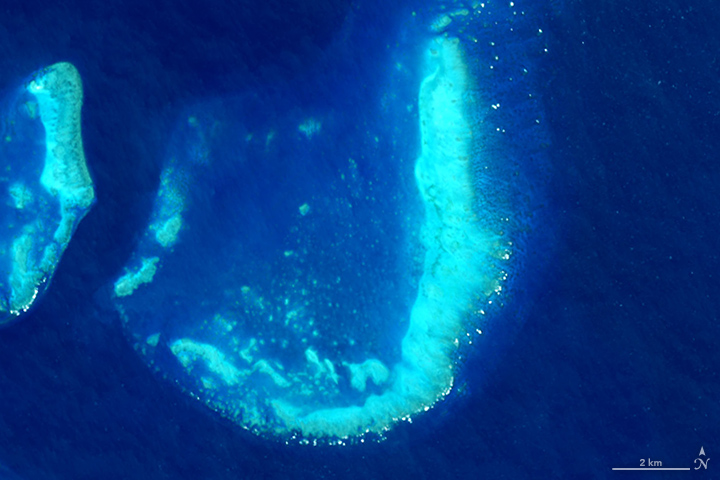 J: The Operational Land Imager on Landsat 8 captured this image of the Trunk Reef near Townsville, Australia on July 17, 2015.