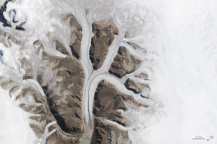 K: The Operational Land Imager (OLI) on Landsat 8 acquired this image of glaciers at the Sirmilik National Park Pond Inlet in Mittimatalik, Canada on Aug. 3, 2015.