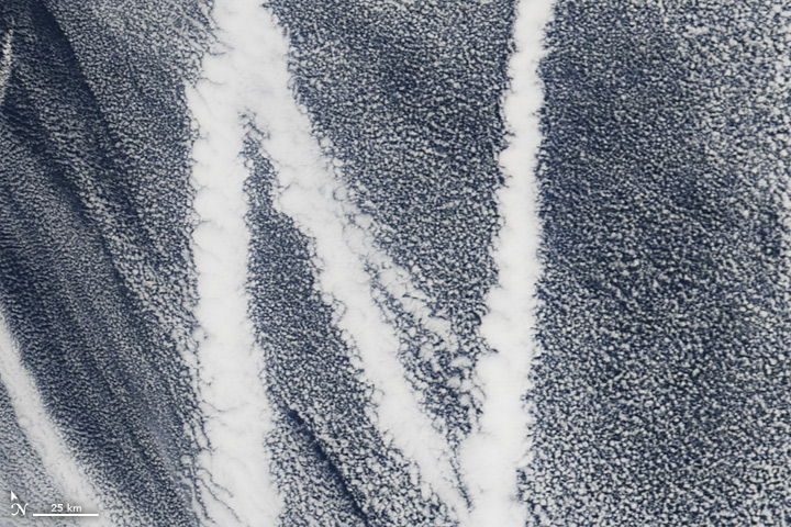 N: The Moderate Resolution Imaging Spectroradiometer (MODIS) on the Terra satellite captured this image of ship tracks over the Pacific on March 4, 2009. Ship emissions contain small particles that cause the clouds to form.