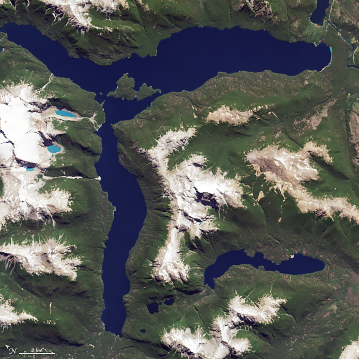 R: The Operational Land Imager (OLI) on Landsat 8 captured this image of Lago Menendez in Argentina on Jan. 20, 2015.