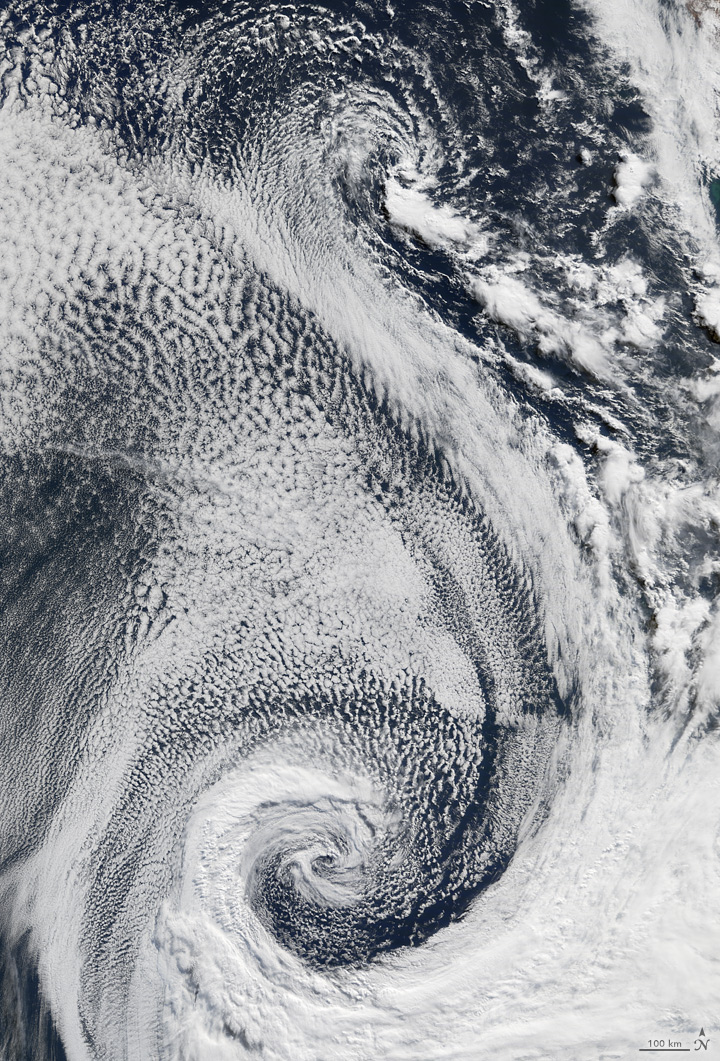 S: The Moderate Resolution Imaging Spectroradiometer (MODIS) on the Terra satellite acquired this image of clouds swirling over the Atlantic Ocean on April 29, 2009.
