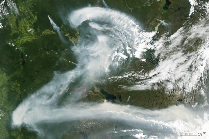 Z: The Moderate Resolution Imaging Spectroradiometer (MODIS) on NASA's Aqua satellite captured this image of wildfire smoke over Canada on July 11, 2012.