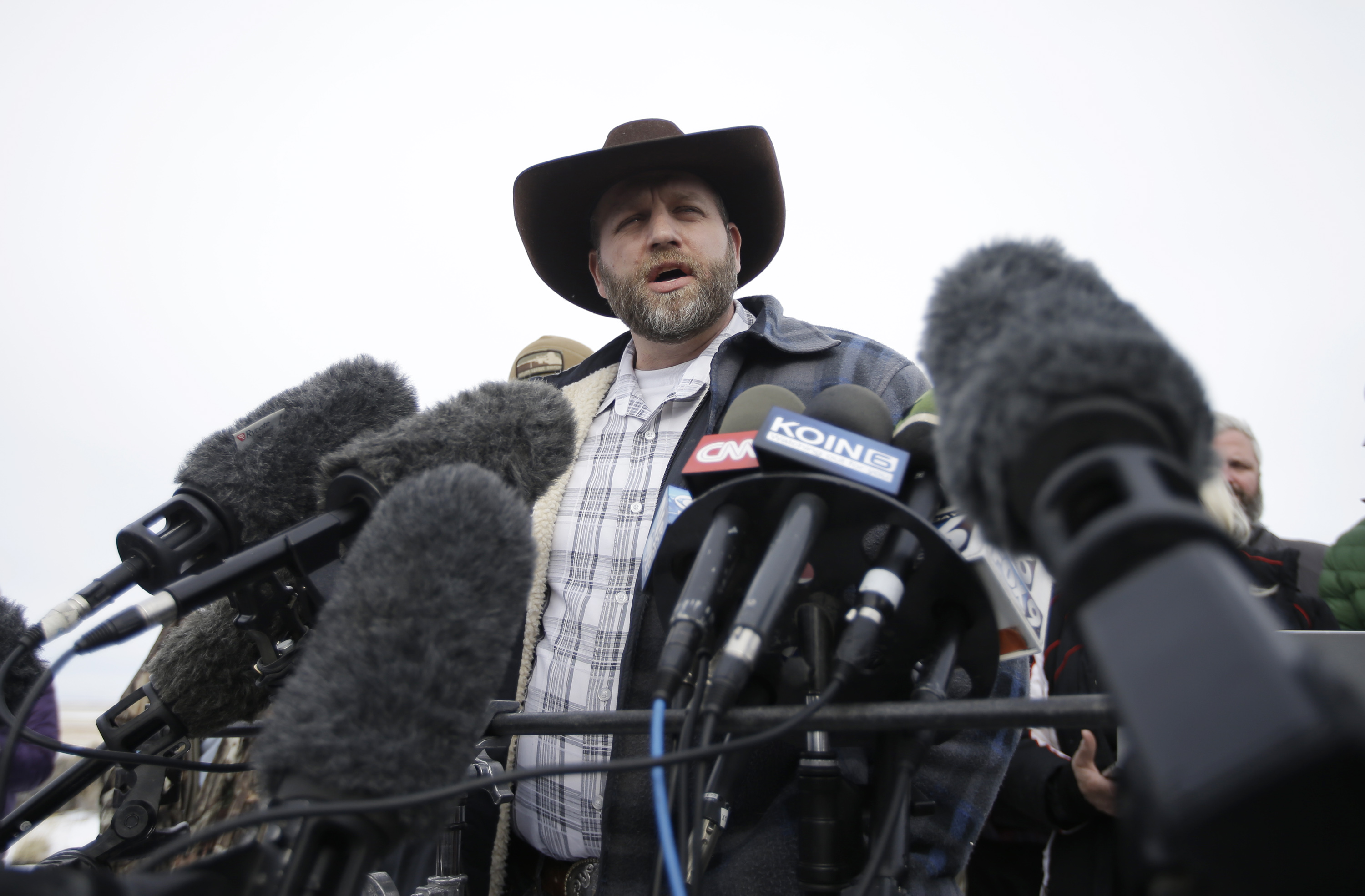 Ammon Bundy, one of the sons of Nevada rancher Cliven Bundy, speaks with reporters during a news conference at Malheur National Wildlife Refuge headquarters on Jan. 4, 2016, near Burns, Ore.