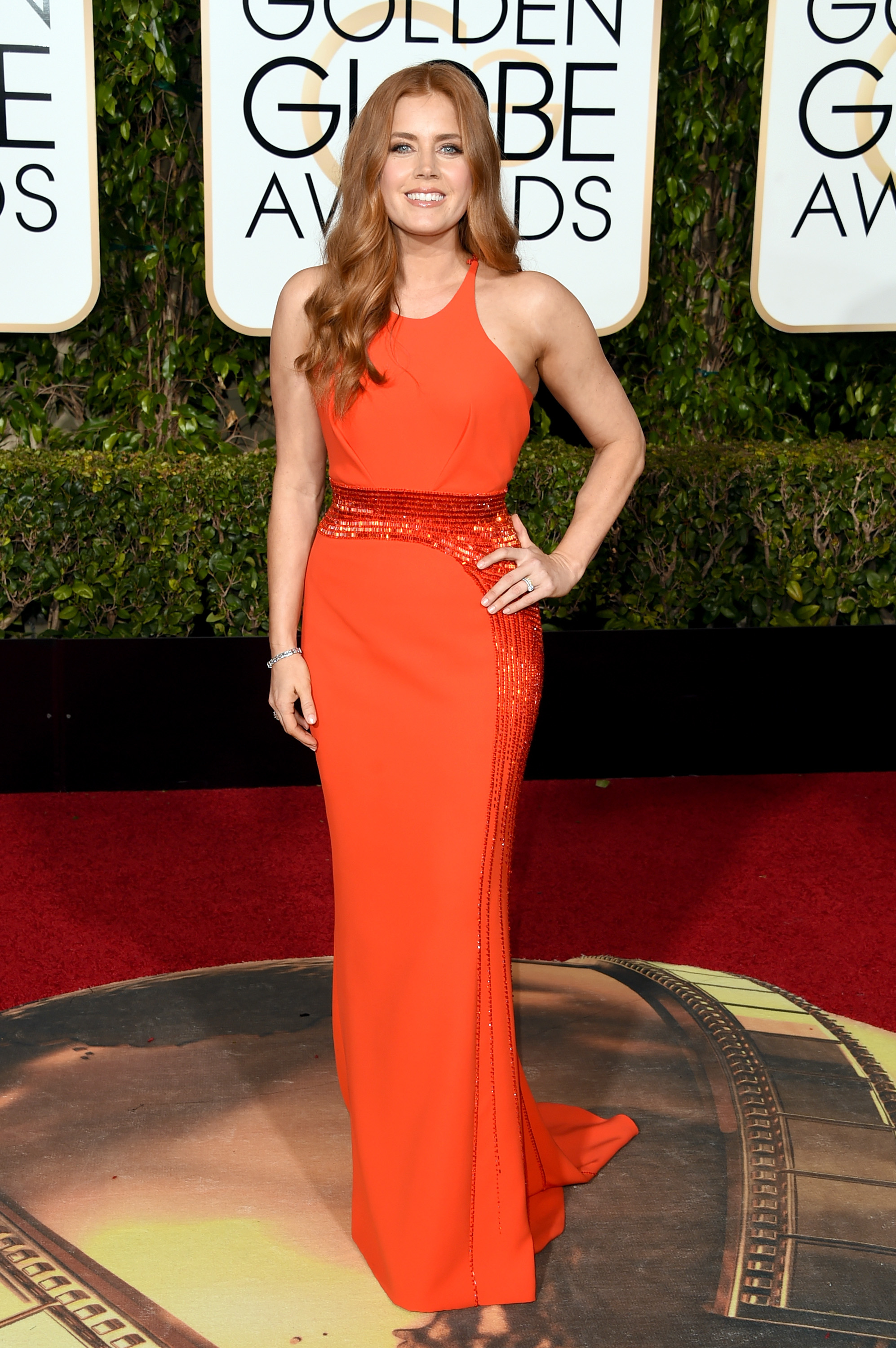 Amy Adams arrives to the 73rd Annual Golden Globe Awards on Jan. 10, 2016 in Beverly Hills.