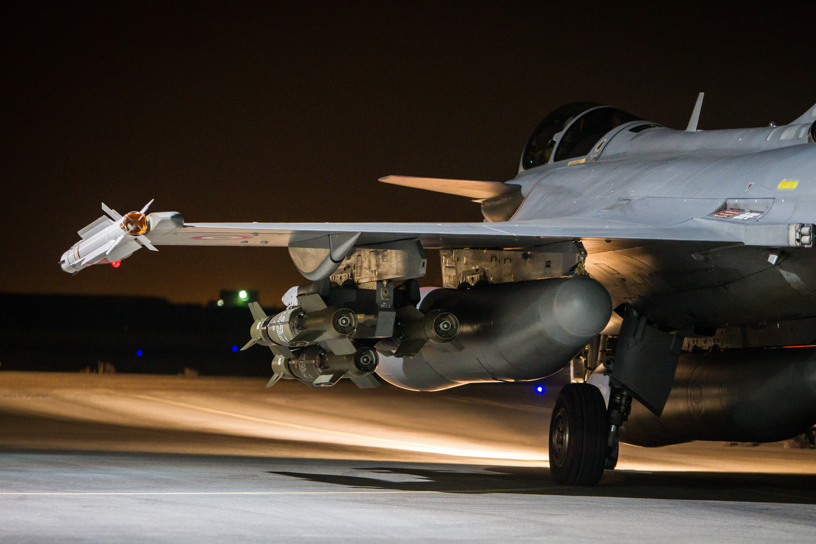 A French Rafale fighter prepares to take off for an air strike on the ISIS stronghold of Raqqa in Syria in November 2015