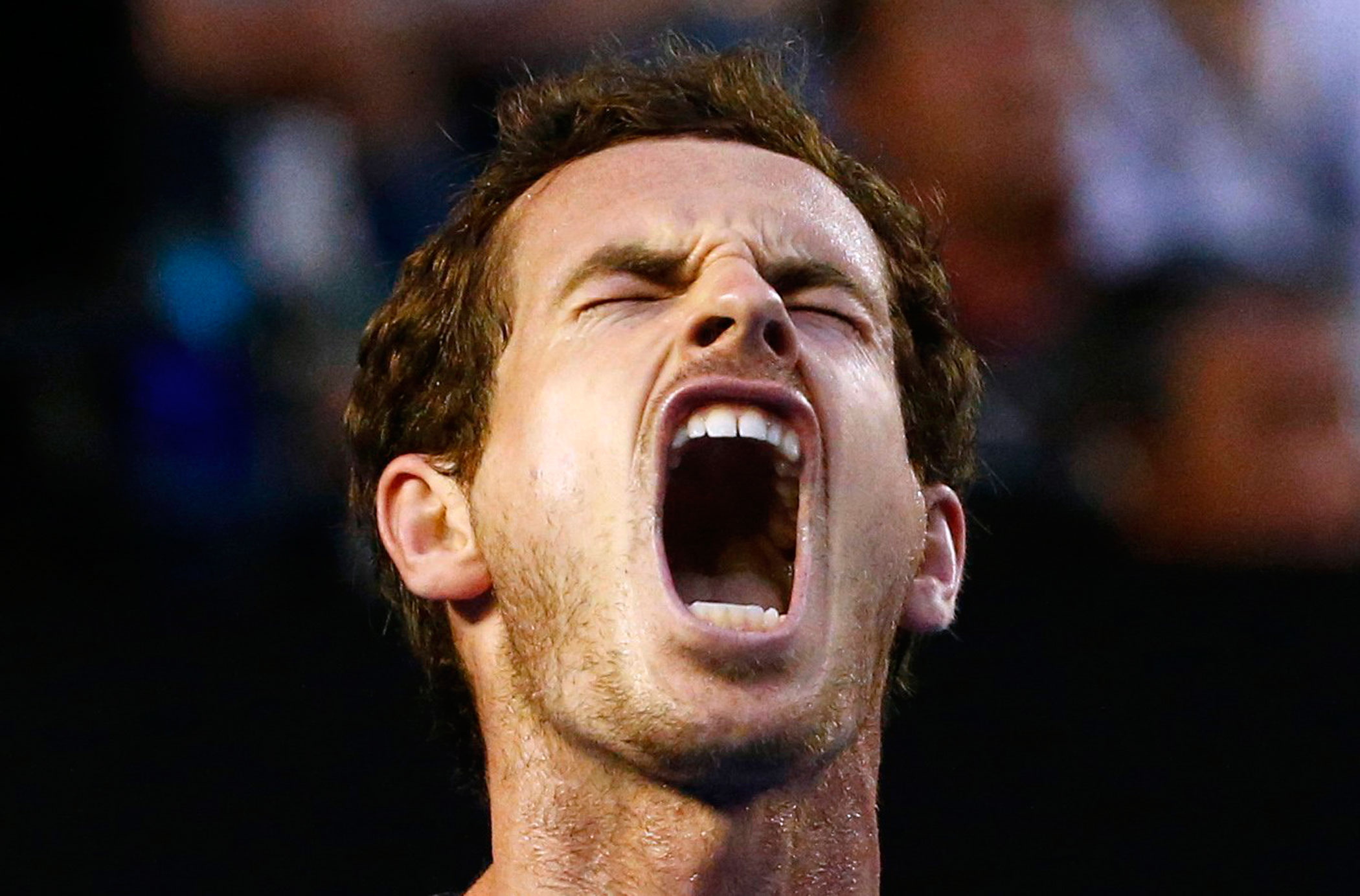 Britain's Andy Murray reacts during his fourth round match against Australia's Bernard Tomic at the Australian Open tennis tournament at Melbourne Park, Australia on Jan. 25, 2016.