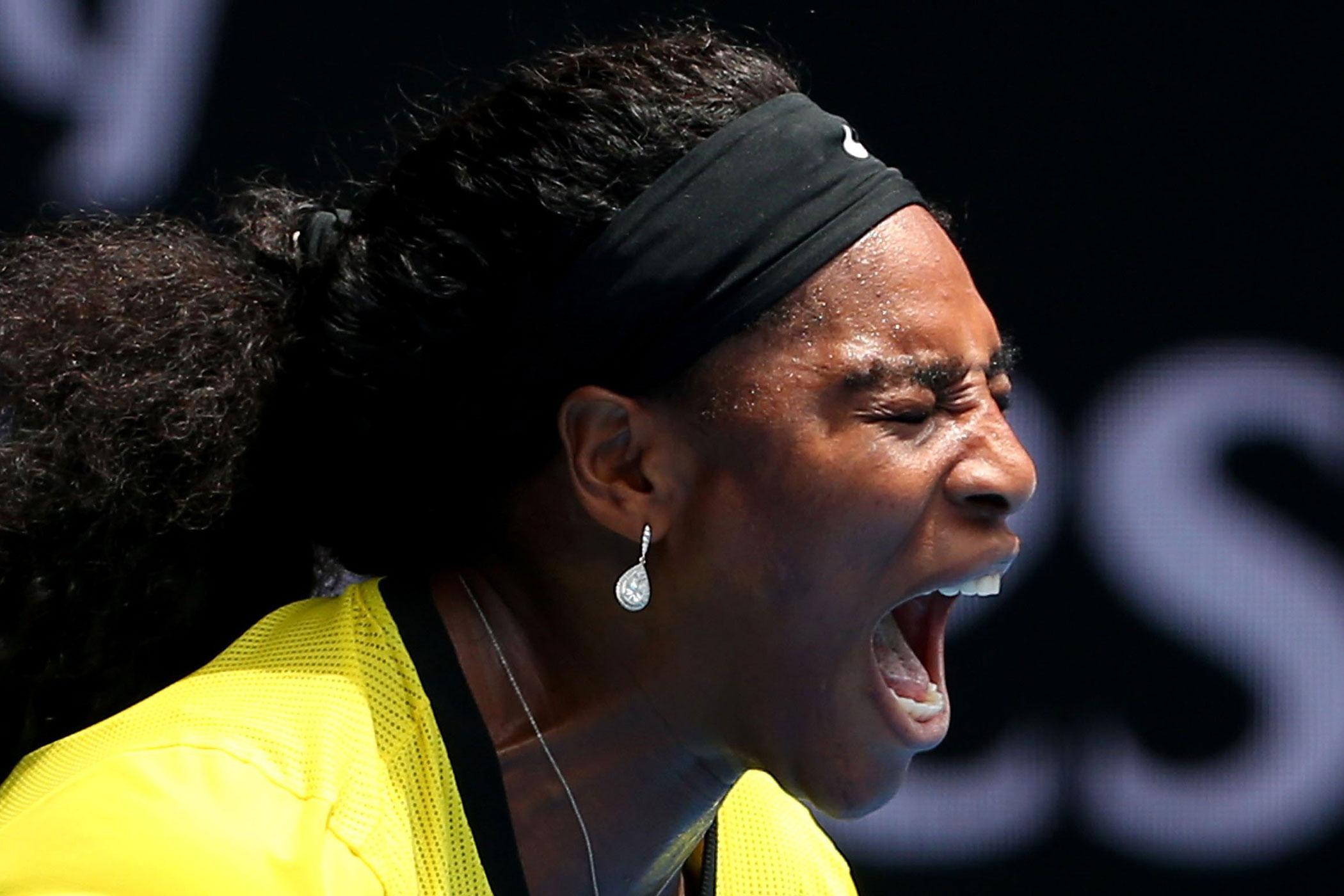Serena Williams celebrates a point in her quarter final match against Russia's Maria Sharapova on Jan. 26.