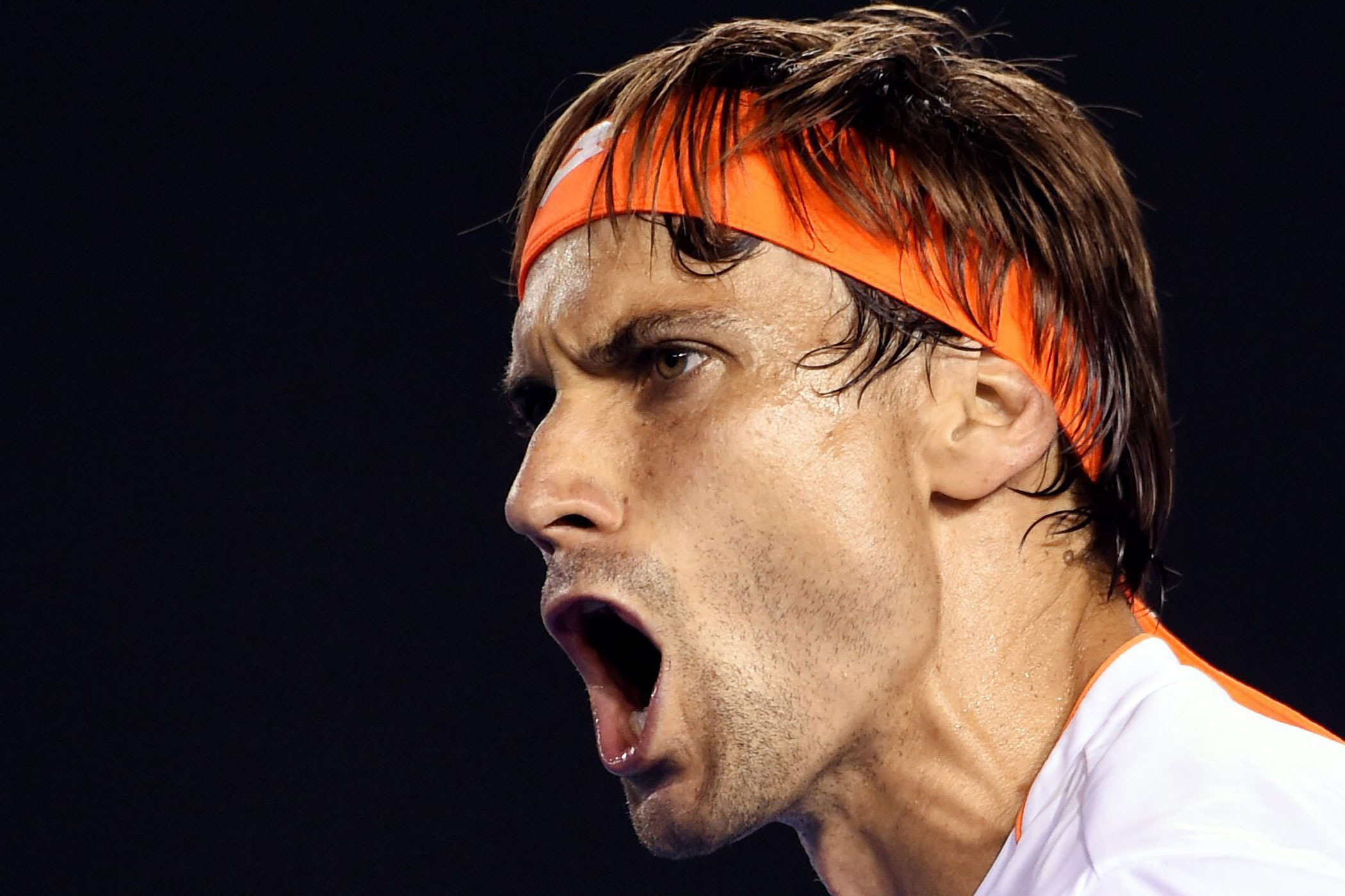 Spain's David Ferrer of Spain celebrates during his quarter final match against Britain's Andy Murray on Jan. 27.