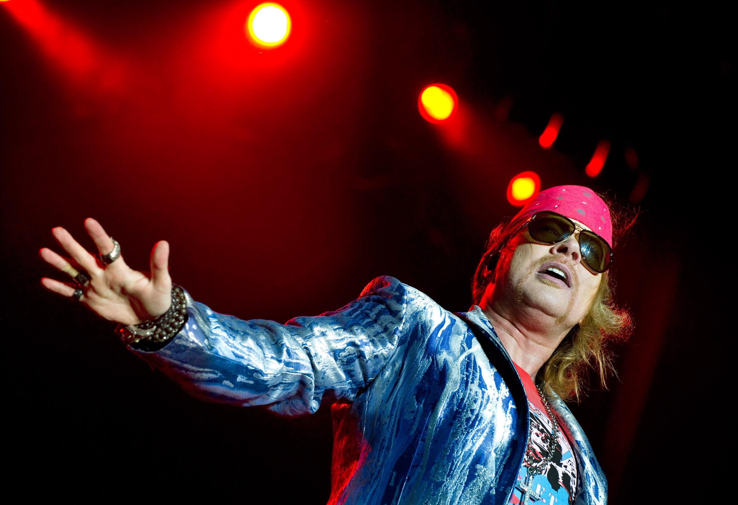 Axl Rose of Guns N' Roses performs during the Sweden Rock Festival in Solvesborg, Sweden, on June 12, 2010.