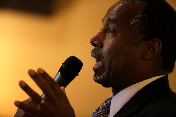 Republican presidential candidate Ben Carson speaks during his  Trust in God Townhall  campaign stop January 22, 2016 in Creston, Iowa.