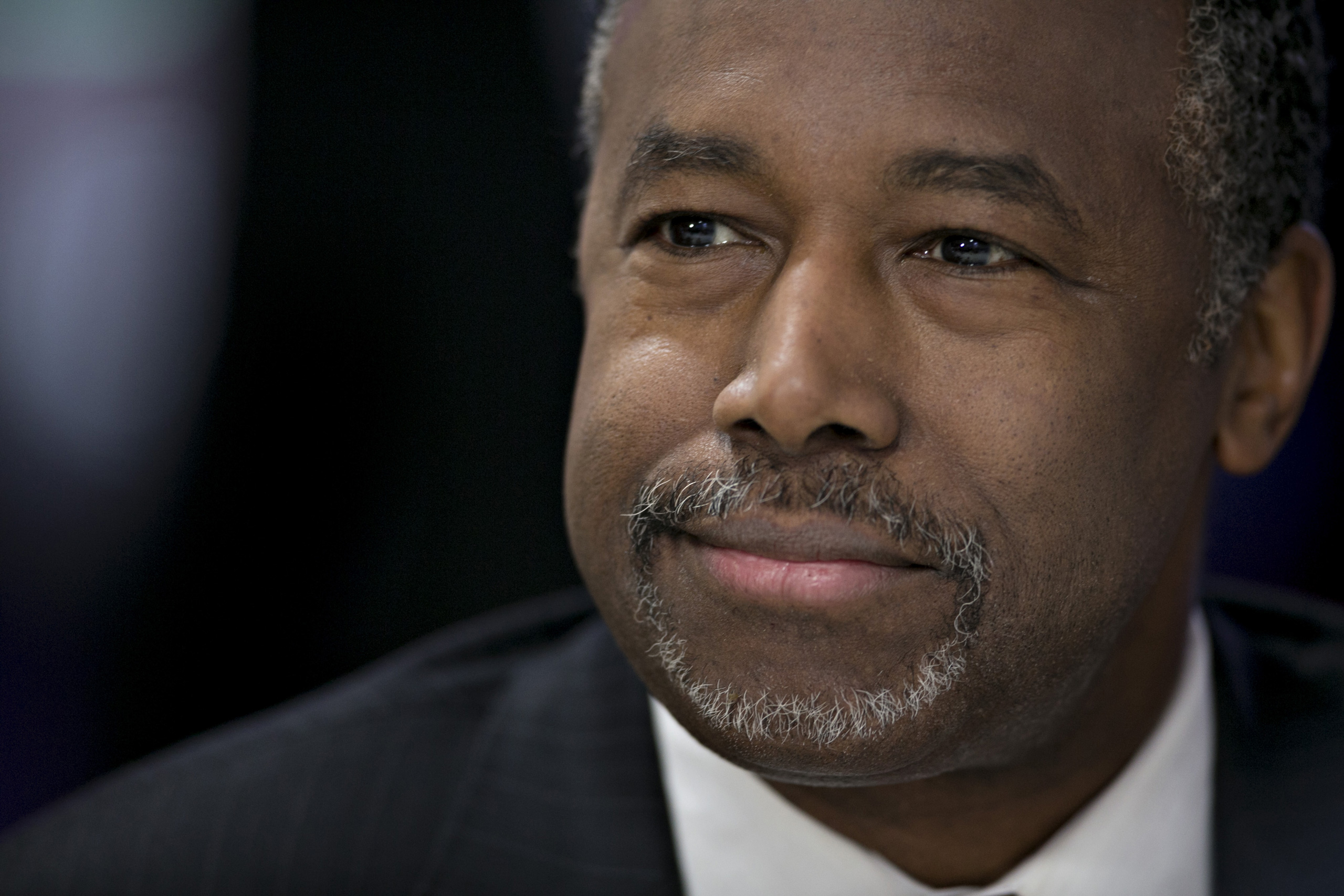 Ben Carson, retired neurosurgeon and 2016 Republican presidential candidate, listens to a question during a Bloomberg Politics interview in Des Moines, Iowa, on Jan. 27, 2016.