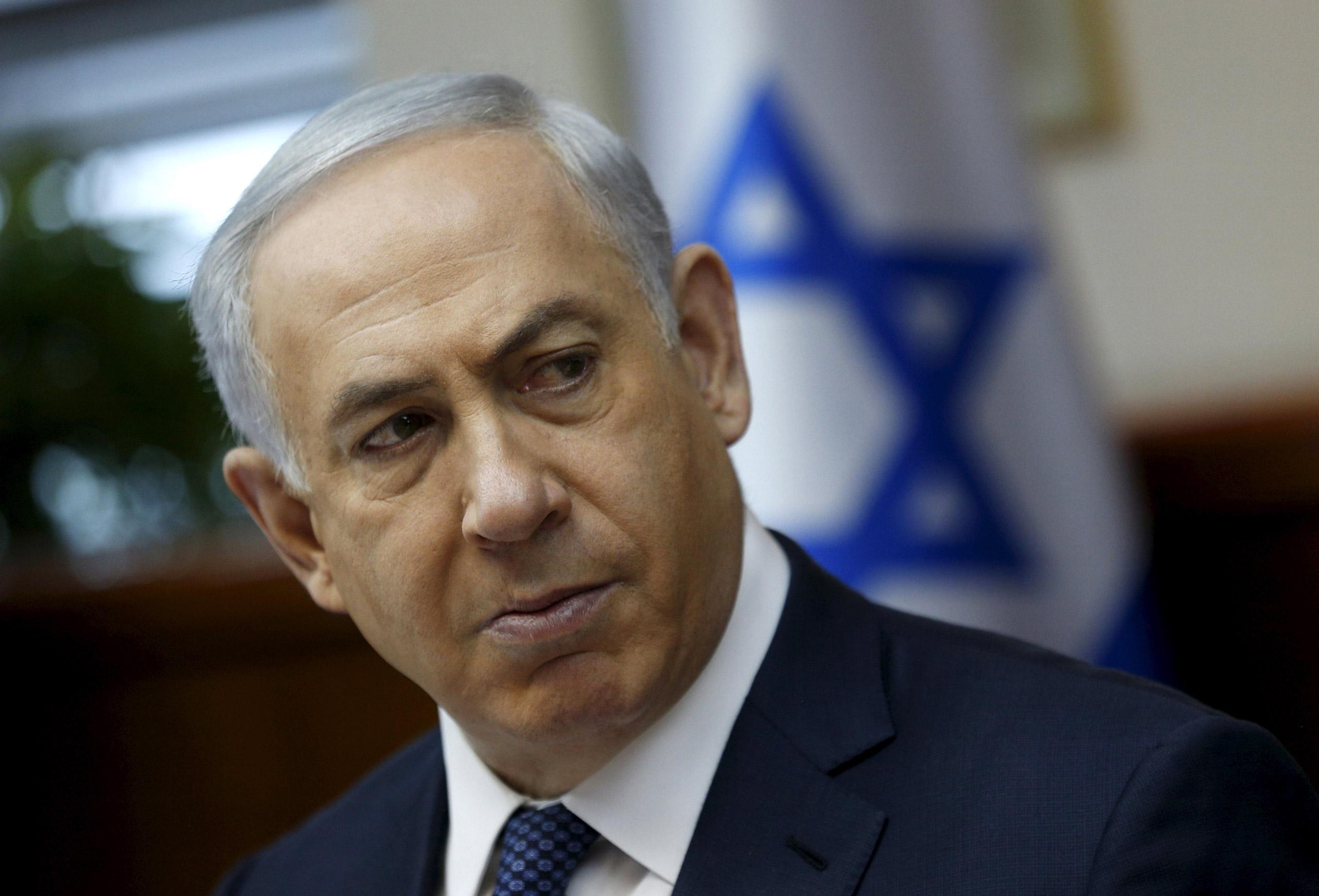 Israeli Prime Minister Benjamin Netanyahu attends the weekly cabinet meeting in Jerusalem on Jan. 3,  2016.
