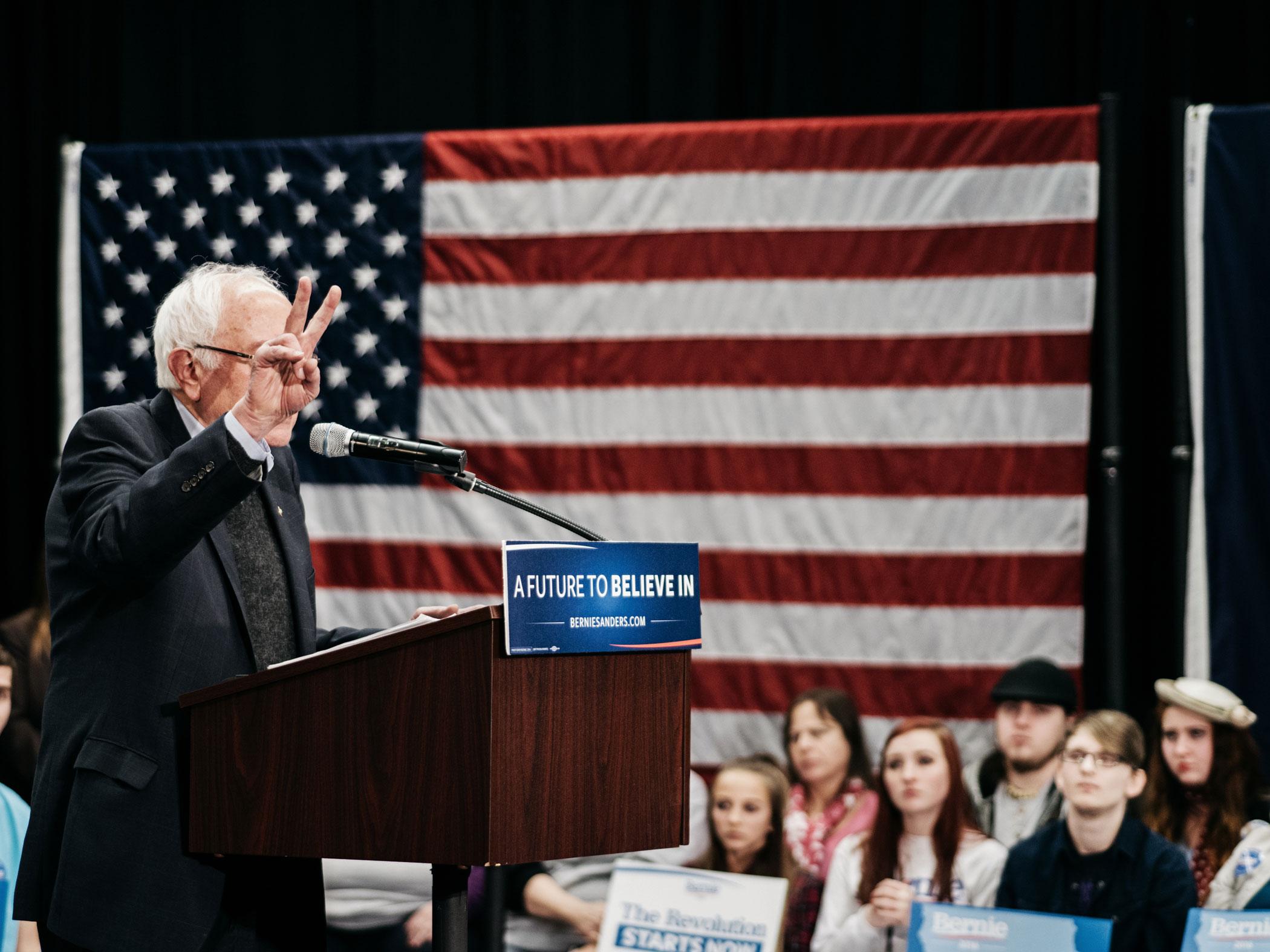 Sen. Bernie Sanders, I-Vt., speaks at a campaign event in Iowa on Jan. 24, 2016.