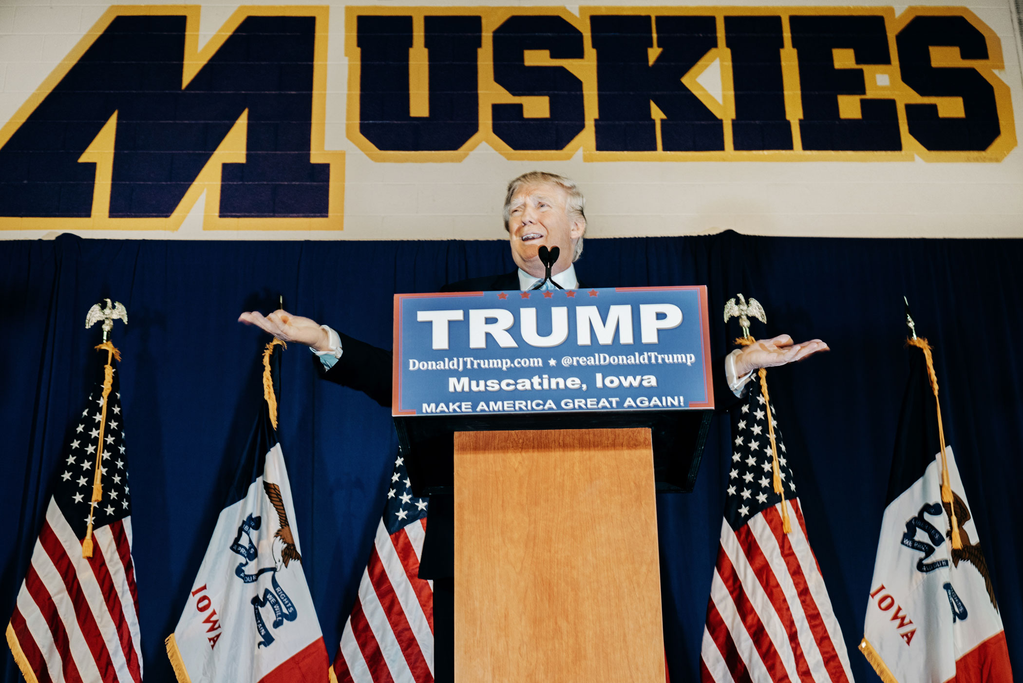 Donald Trump speaks at a campaign event in Muskatine, Iowa on Jan. 24, 2016.