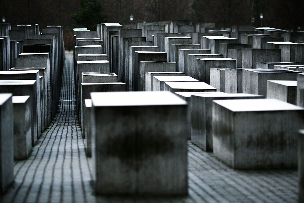 Some of the 2,711 polished marble blocks at the Memorial to the Murdered Jews of Europe, in Berlin, are seen on Jan. 27, 2015
