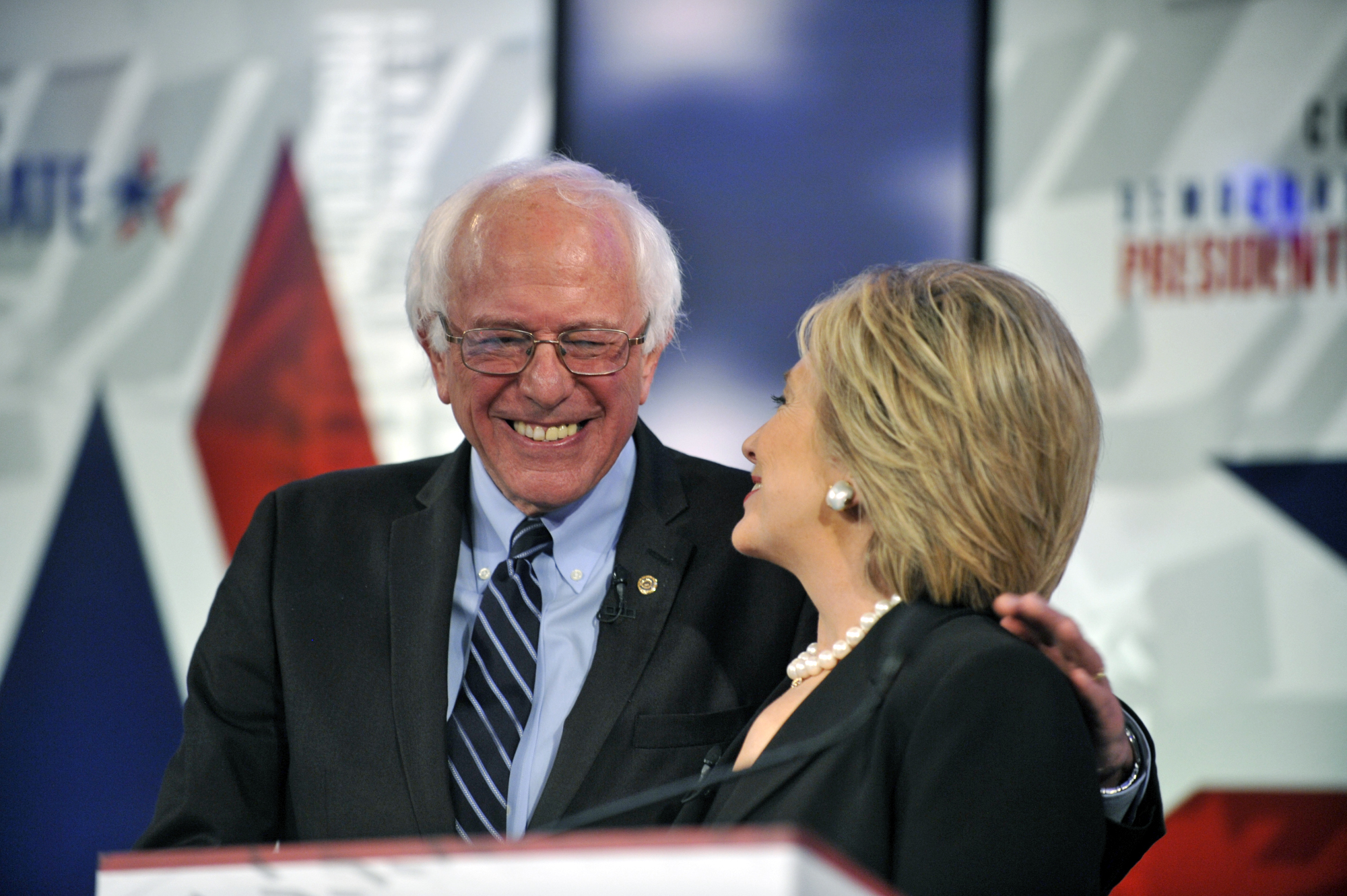 Sen. Bernie Sanders and Former U.S. Secretary of State Hillary Clinton at the Democratic Presidential Debate in Des Moines, Iowa on Nov. 14, 2015.