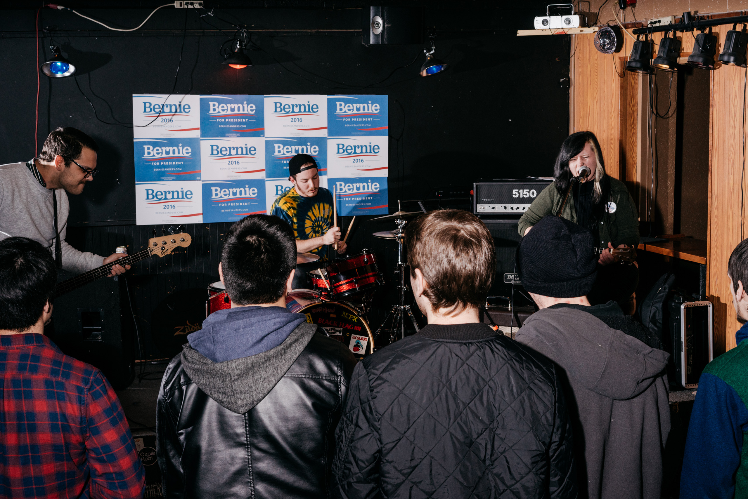 Shutup performs at a Bernie Sanders fundraiser billed as  Waterloo Shred for Bernie: Part 2  at The Wedge bar in Waterloo, IA, Saturday January 23, 2016.