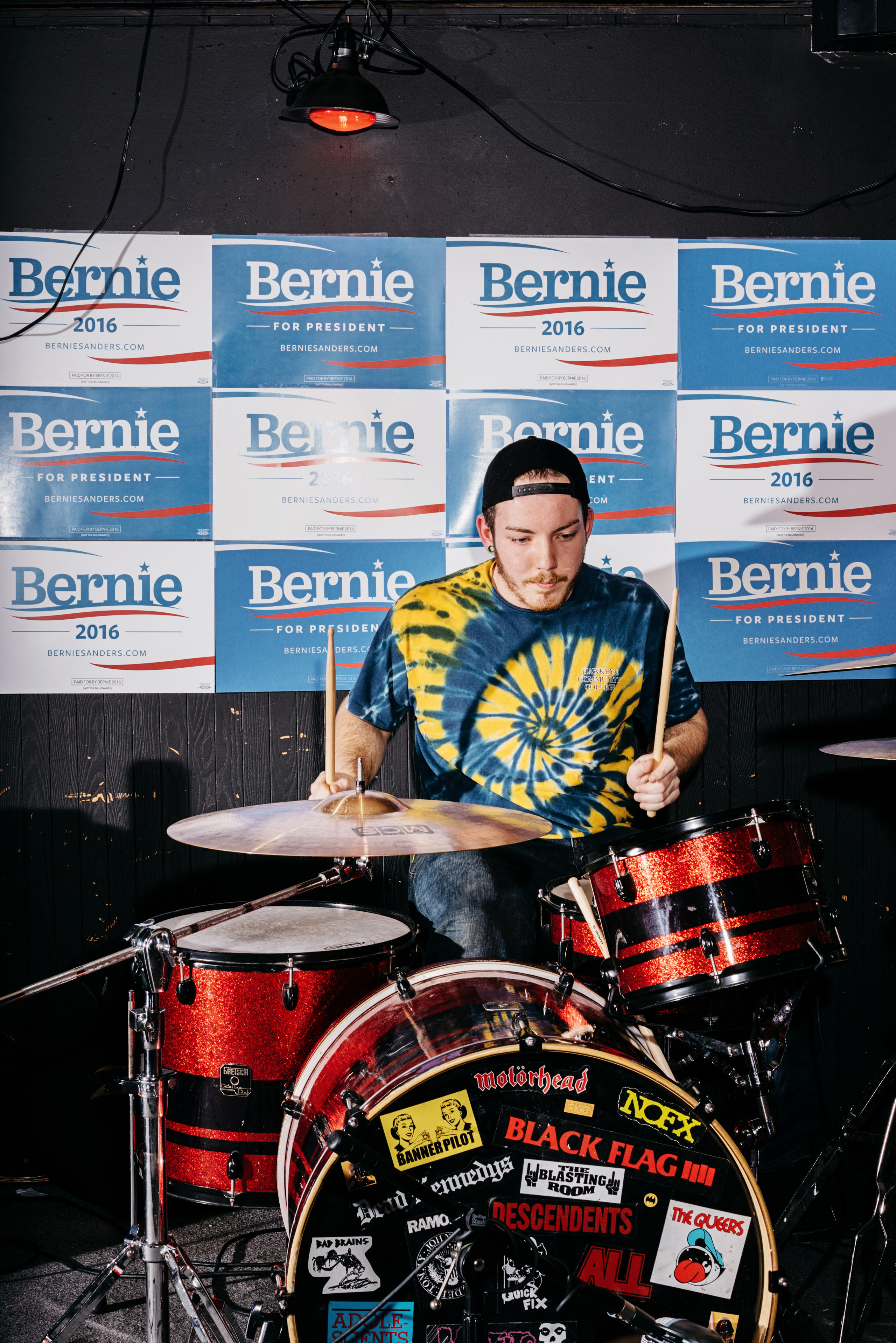 Drummer, Mason Wise of Shutup performs at a Bernie Sanders fundraiser billed as  Waterloo Shred for Bernie: Part 2  at The Wedge bar in Waterloo, IA, Saturday January 23, 2016.