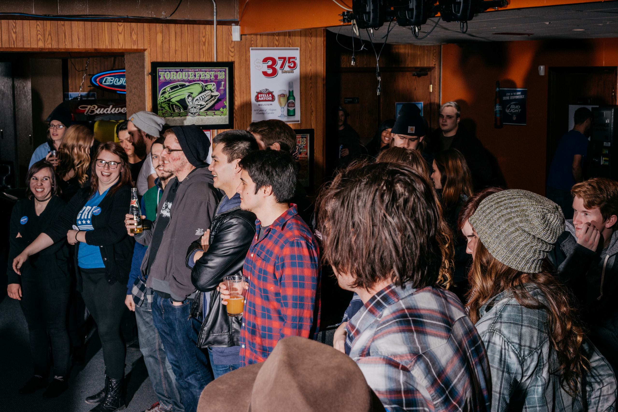 The scene at a Bernie Sanders fundraiser billed as  Waterloo Shred for Bernie: Part 2  at The Wedge bar in Waterloo, IA, Saturday January 23, 2016.